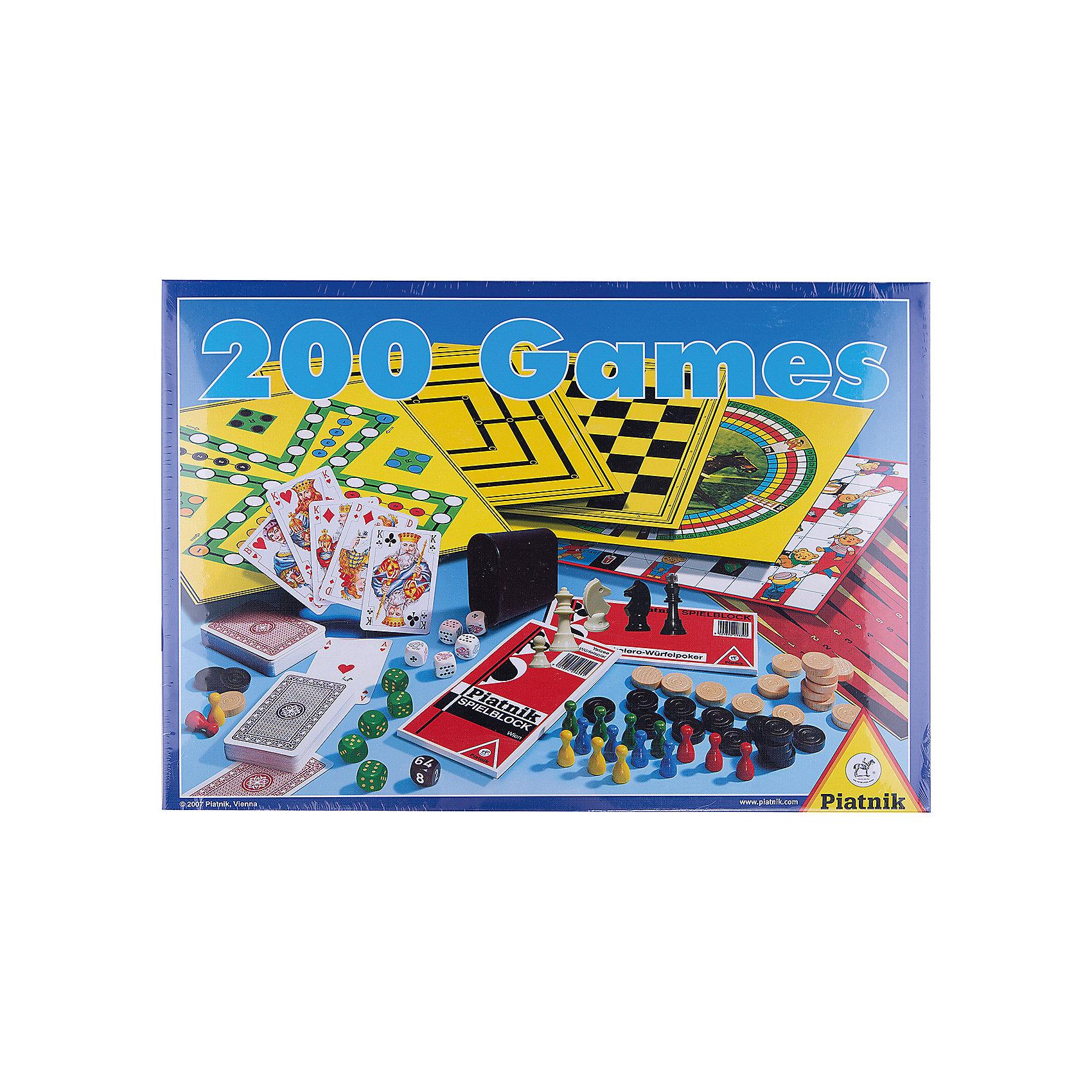 200 игр + шахматы, Piatnik200 игр + шахматы, Piatnik  – это набор настольных игр для всех членов семьи, который позволит приятно провести свободное время.<br>Игровой набор 200 игр+шахматы предлагает выбрать ту игру, которая придется по душе именно Вам. 200 вариантов игр на любой вкус удовлетворят требования самых строгих игроманов. Множество элементов в наборе, качественное исполнение, подробные и понятные правила – все это делает набор очень популярным среди любителей настольных игр. Играть можно дома, в гостях, в дороге, на природе. Выбирайте, в какую игру хотите поиграть – и вперед! А играть можно в игры с игровыми полями или без них, с кубиками, с фишками, с шашками. Этот набор позволяет даже сыграть партию в шахматы. Инструкция поможет сориентироваться в предложенном многообразии игр. С таким игровым набором досуг пройдет весело и непринужденно<br><br>Дополнительная информация:<br><br>- Для детей от 6 лет и старше<br>- Количество игроков: от 2 и более человек<br>- Среднее время игры: 15 минут<br>- В комплекте: игровое поле – 3 шт., фишки – 16 шт., шашки белые – 15 шт., шашки черные – 15 шт., блок для записи Eskalero и Yatze, шахматные фигуры – 32 шт., игральный кубик – 5 шт., двойной кубик – 1шт., игральные карты – 2 колоды, стакан для игры с кубиками – 1 шт., правила игры<br>- Упаковка: картонная коробка<br>- Размер упаковки: 41 х 30 х 6 см.<br>- Вес: 1270 гр.<br><br>Набор 200 игр + шахматы, Piatnik можно купить в нашем интернет-магазине.<br><br>Ширина мм: 40<br>Глубина мм: 410<br>Высота мм: 300<br>Вес г: 1270<br>Возраст от месяцев: 72<br>Возраст до месяцев: 1188<br>Пол: Унисекс<br>Возраст: Детский<br>SKU: 3770911