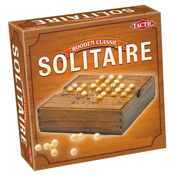 Мини Солитер, Tactic GamesИгры в дорогу<br>Мини Солитер, Tactic Games – это интересная настольная игра, прекрасно развивающая логику.<br>Мини Солитер  - это уменьшенная версия популярной логической игры, завоевавшей поклонников развлечений математического характера во всем мире. Цель игры состоит в том, чтобы за минимально короткий срок очистить поле от шариков. Игра напоминает шашки: шарик перепрыгивает через соседние сферы, как бы съедая их. Чем быстрее один шарик останется в центре, чем меньше ходов вы на это потратите, тем лучше. Играет один человек. <br>Игра упакована в деревянный короб, который служит игровым полем. Компактный размер игры позволяет взять ее с собой в дорогу.<br><br>Дополнительная информация:<br><br>- В комплекте: игровое поле и 33 деревянных шариков<br>- Материал: дерево<br>- Размер упаковки: 16,8 х 16,8 х 6,2 см.<br>- Вес: 433 гр.<br><br>Игру Мини Солитер, Tactic Games можно купить в нашем интернет-магазине.<br>Ширина мм: 62; Глубина мм: 168; Высота мм: 168; Вес г: 433; Возраст от месяцев: 96; Возраст до месяцев: 1188; Пол: Унисекс; Возраст: Детский; SKU: 3770920;