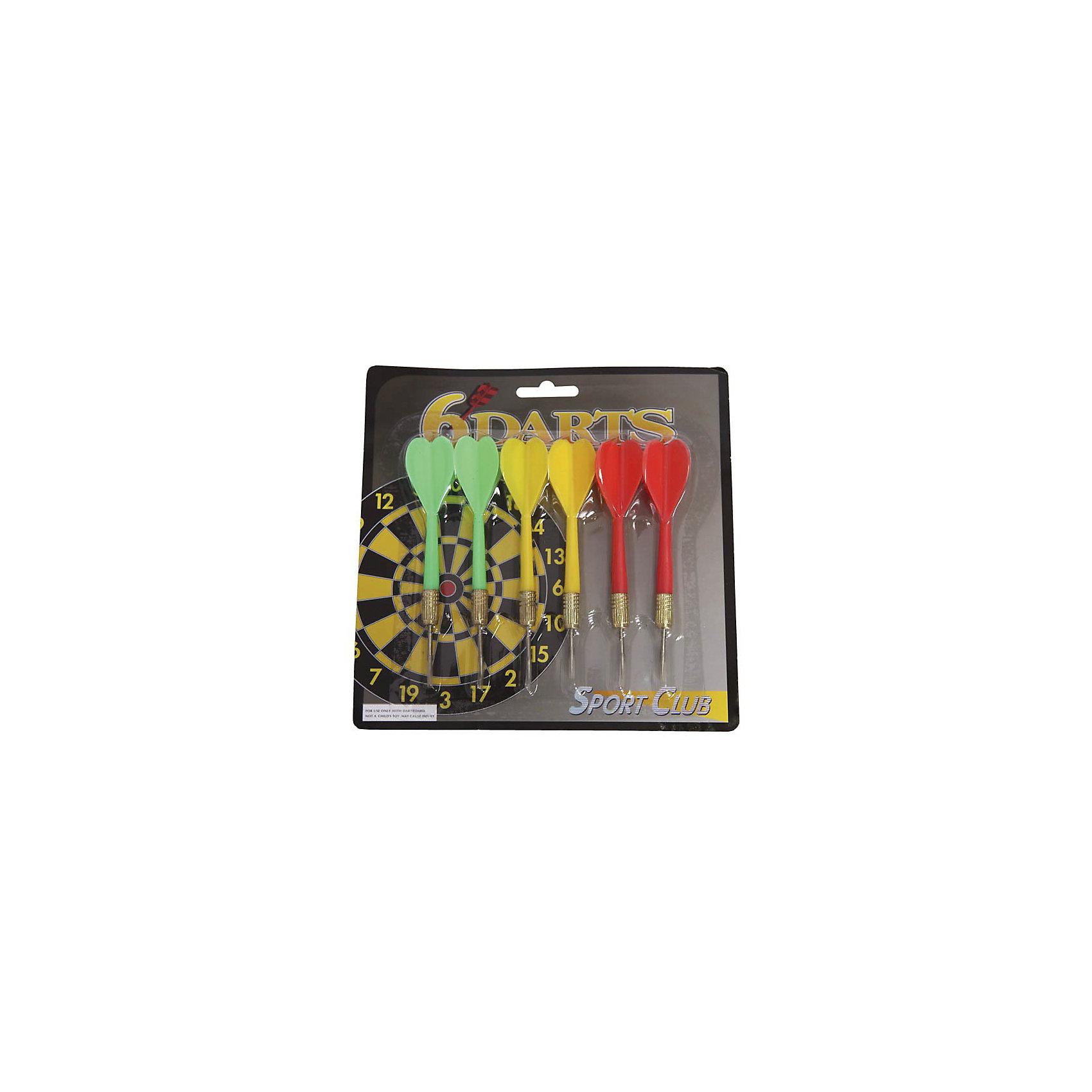 Набор дротиков, 6 шт.Игровые наборы<br>Набор дротиков, 6 шт. – это набор дополнительных дротиков для игры в дартс.<br>В наборе 6 дротиков трёх цветов: 2 зеленых, 2 красных и 2 желтых. Оперение пластиковое, наконечник металлический.<br><br>Дополнительная информация:<br><br>- В наборе: 6 дротиков<br>- Материал: пластик, металл<br>- Длина дротика: 11,5 см. <br>- Вес дротика: 6 г.<br><br>Набор дротиков, 6 шт. можно купить в нашем интернет-магазине.<br><br>Ширина мм: 175<br>Глубина мм: 175<br>Высота мм: 25<br>Вес г: 62<br>Возраст от месяцев: 72<br>Возраст до месяцев: 1188<br>Пол: Унисекс<br>Возраст: Детский<br>SKU: 3774142