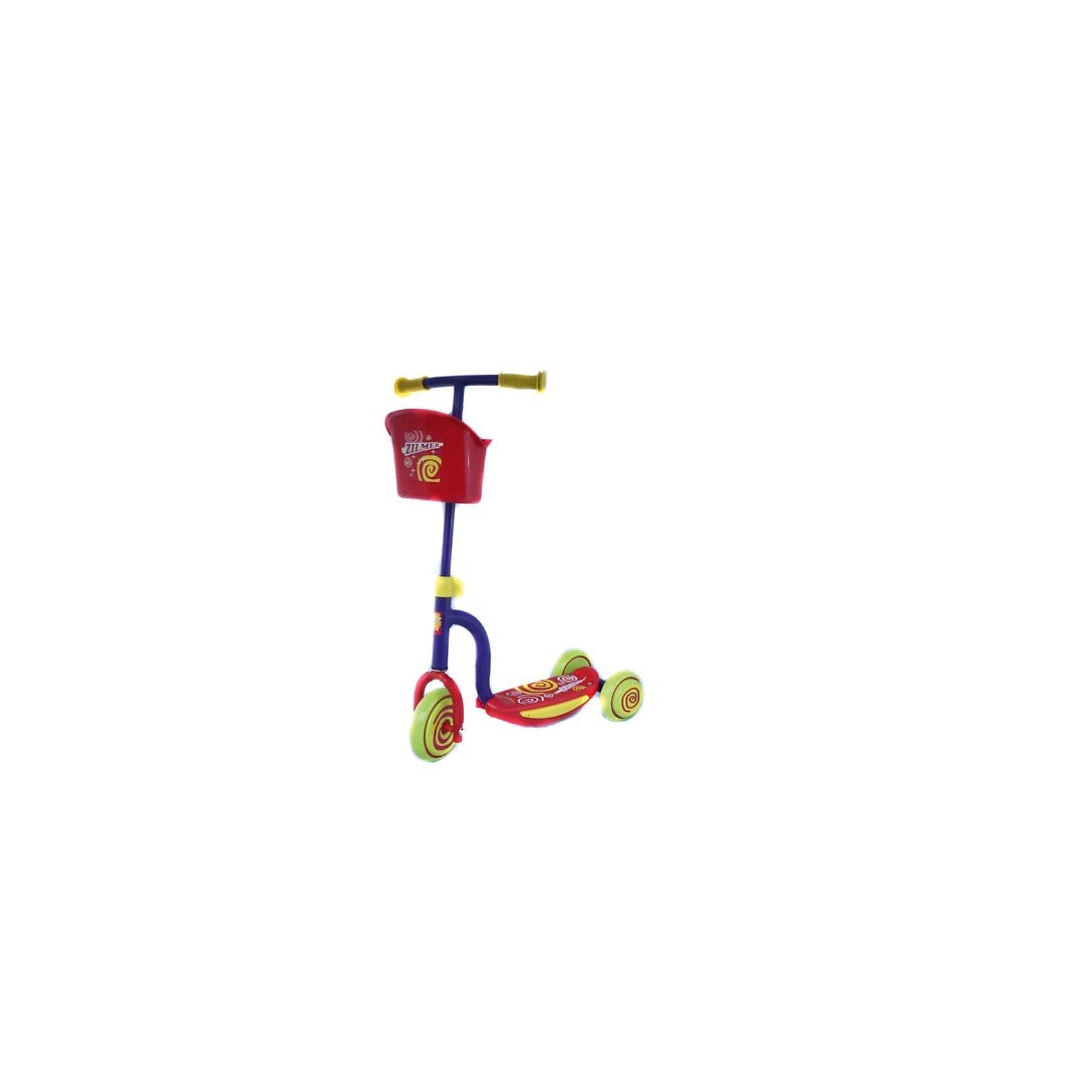 Самокат трёхколёсный Малыш, ZilmerСамокаты<br>Самокат трёхколёсный Малыш, Zilmer (Зилмер) – этот легкий и удобный трехколесный самокат для маленьких детей, которые еще только учатся кататься.<br>Такой самокат развивает координацию, равновесие и физическую форму. Три колеса сделают управление самокатом более уверенным и простым, а в корзинку можно что-нибудь положить, чтобы руки были не заняты. Теперь поездка в магазин станет гораздо увлекательнее.<br><br>Дополнительная информация:<br><br>- В комплекте: самокат, инструкция, ключ<br>- Материал: пластмасса, полипропилен, сталь<br>- Максимальная нагрузка до 20 кг.<br>- Размер деки: 340 х 94 мм.<br>- Длина: 34 см.<br>- Диаметр колеса: 14 см спереди, 12 см сзади.<br>- Вес: 3200 гр.<br><br>Самокат трёхколёсный Малыш, Zilmer (Зилмер) можно купить в нашем интернет-магазине.<br><br>Ширина мм: 570<br>Глубина мм: 220<br>Высота мм: 270<br>Вес г: 3200<br>Возраст от месяцев: 72<br>Возраст до месяцев: 120<br>Пол: Женский<br>Возраст: Детский<br>SKU: 3774159