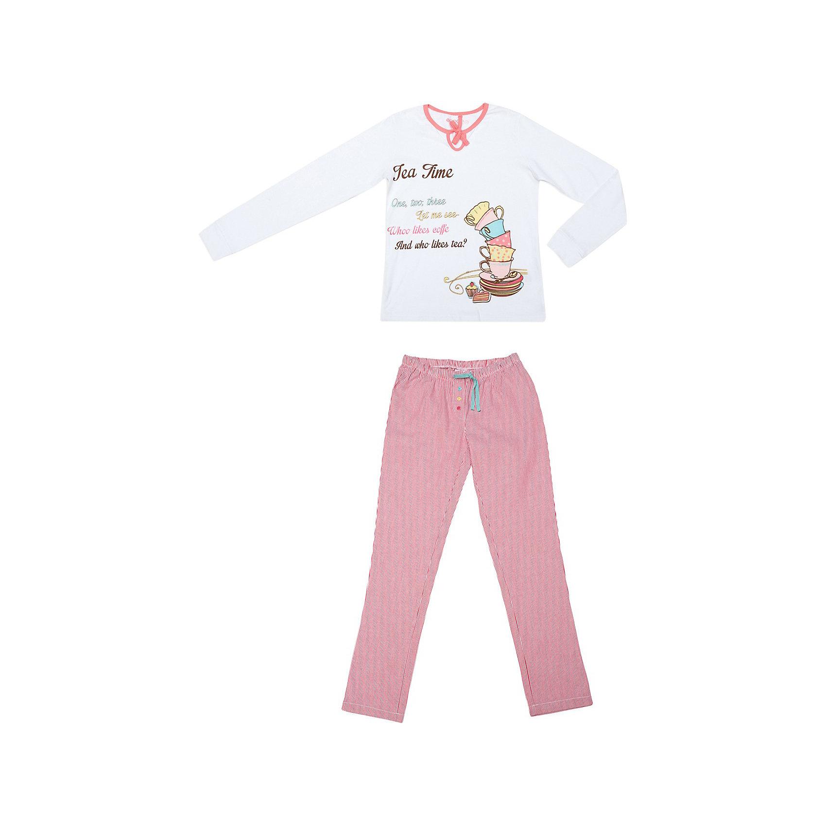 Пижама для девочки ScoolКомплект для девочки: футболка с длинным рукавом и брюки Scool. <br>* уютная пижама из эластичного трикотажа, состоящая из футболки и брюк<br>* горловина футболки обработана трикотажной бейкой с завязкой на бантик<br>* принт на полочке<br>* пояс брюк на внутренней резинке, регулируется тесьмой футболка<br>Состав: 95% хлопок, 5% эластан, брюки: 100% хлопок<br><br>Ширина мм: 230<br>Глубина мм: 40<br>Высота мм: 220<br>Вес г: 250<br>Цвет: белый<br>Возраст от месяцев: 96<br>Возраст до месяцев: 108<br>Пол: Женский<br>Возраст: Детский<br>Размер: 158,140,152,146,134,164<br>SKU: 3774720
