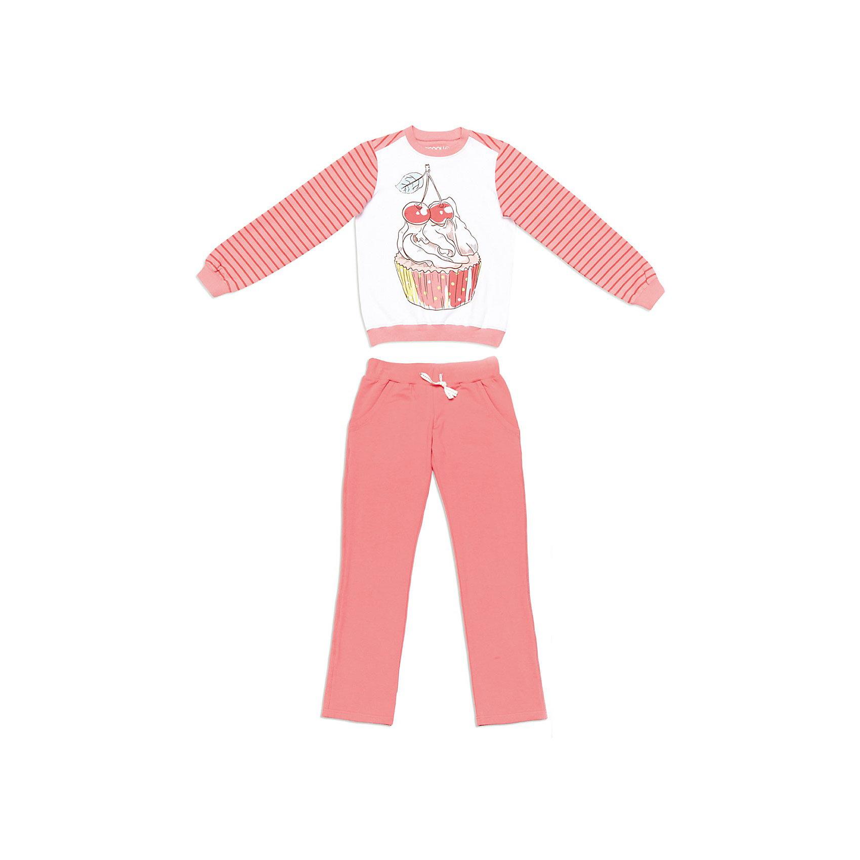 Комплект для девочки: толстовка и брюки ScoolКомплект для девочки: толстовка и брюки Scool. <br>* комфортный комплект для дома, состоящий из толстовки и брюк<br>* мягкий эластичный трикотаж<br>* толстовка из комбинированного трикотажа<br>* принт на полочке<br>* горловина и манжеты - вязаная трикотажная резинка<br>* пояс брюк - трикотажная резинка, дополнительно объем регулируется шнуром<br>* модель с карманами <br>Состав: 95% хлопок, 5% эластан<br><br>Ширина мм: 190<br>Глубина мм: 74<br>Высота мм: 229<br>Вес г: 236<br>Цвет: розовый<br>Возраст от месяцев: 120<br>Возраст до месяцев: 132<br>Пол: Женский<br>Возраст: Детский<br>Размер: 146,164,152,140,134,158<br>SKU: 3774727