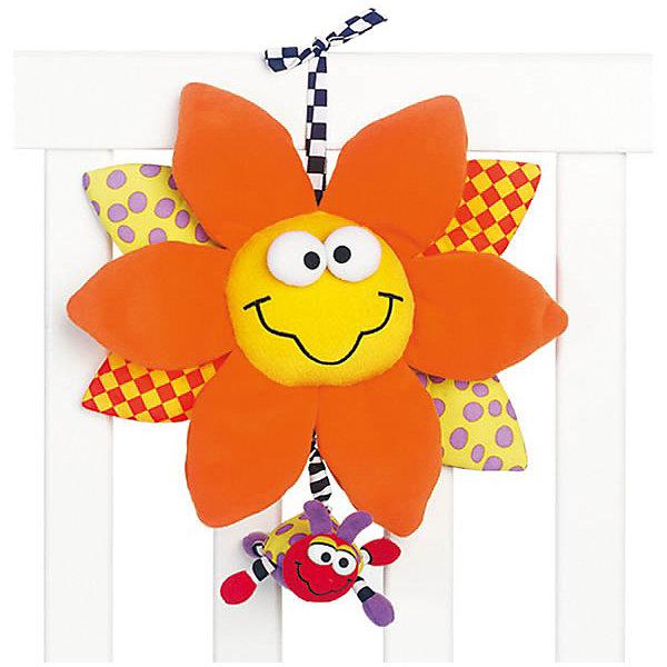 Мягкая игрушка-подвеска, PlaygroИгрушки для новорожденных<br>Мягкая игрушка-подвеска Playgro (Плейгро) со световым и звуковым эффектами станет верным другом для Вашего малыша. Игрушка представляет собой улыбающийся цветочек с яркими лепестками. Верхние лепестки оранжевого цвета изготовлены из приятной на ощупь плюшевой ткани, остальные – из гладкого текстиля. Если потянуть за божью коровку, которая прикреплена к игрушке, раздастся нежная колыбельная мелодия и замигают яркие огоньки, а божья коровка будет медленно возвращаться в исходное положение. Кроме того, малышу будет интересно изучать объемные элементы – глазки и большие лепестки. Музыкальную подвеску можно прикрепить к кроватке, коляске или манежу, при помощи специальной текстильной завязки. <br>Эта подвеска идеальная первая игрушка - она откроет ребенку мир звуков и цветового восприятия: оттенки желтого, которые присутствуют у цветка, самыми первыми распознаются ребенком. А маленькая божья коровка разовьёт хватательный рефлекс. Изготовлена из гипоаллергенных и безопасных материалов.<br><br>Дополнительная информация:<br><br>- Для детей с рождения<br>- Размеры: 25 х 28 см.<br>- Материал: текстиль<br>- Длительность звучания мелодии: 10 минут<br>- На всем протяжении звучания музыки горит подсветка<br>- Батарейки: 3х 1,5V типа LR44 (в комплекте демонстрационные)<br><br>Мягкую игрушку-подвеску, Playgro (Плейгро) можно купить в нашем интернет-магазине.<br>Ширина мм: 240; Глубина мм: 240; Высота мм: 240; Вес г: 290; Возраст от месяцев: 0; Возраст до месяцев: 18; Пол: Унисекс; Возраст: Детский; SKU: 3775853;