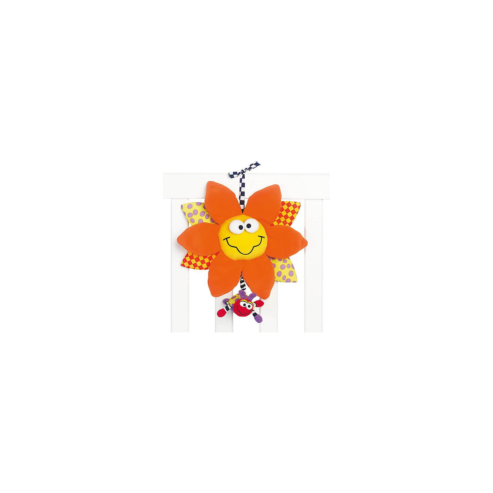 Мягкая игрушка-подвеска, PlaygroПодвески<br>Мягкая игрушка-подвеска Playgro (Плейгро) со световым и звуковым эффектами станет верным другом для Вашего малыша. Игрушка представляет собой улыбающийся цветочек с яркими лепестками. Верхние лепестки оранжевого цвета изготовлены из приятной на ощупь плюшевой ткани, остальные – из гладкого текстиля. Если потянуть за божью коровку, которая прикреплена к игрушке, раздастся нежная колыбельная мелодия и замигают яркие огоньки, а божья коровка будет медленно возвращаться в исходное положение. Кроме того, малышу будет интересно изучать объемные элементы – глазки и большие лепестки. Музыкальную подвеску можно прикрепить к кроватке, коляске или манежу, при помощи специальной текстильной завязки. <br>Эта подвеска идеальная первая игрушка - она откроет ребенку мир звуков и цветового восприятия: оттенки желтого, которые присутствуют у цветка, самыми первыми распознаются ребенком. А маленькая божья коровка разовьёт хватательный рефлекс. Изготовлена из гипоаллергенных и безопасных материалов.<br><br>Дополнительная информация:<br><br>- Для детей с рождения<br>- Размеры: 25 х 28 см.<br>- Материал: текстиль<br>- Длительность звучания мелодии: 10 минут<br>- На всем протяжении звучания музыки горит подсветка<br>- Батарейки: 3х 1,5V типа LR44 (в комплекте демонстрационные)<br><br>Мягкую игрушку-подвеску, Playgro (Плейгро) можно купить в нашем интернет-магазине.<br><br>Ширина мм: 240<br>Глубина мм: 240<br>Высота мм: 240<br>Вес г: 290<br>Возраст от месяцев: 0<br>Возраст до месяцев: 18<br>Пол: Унисекс<br>Возраст: Детский<br>SKU: 3775853