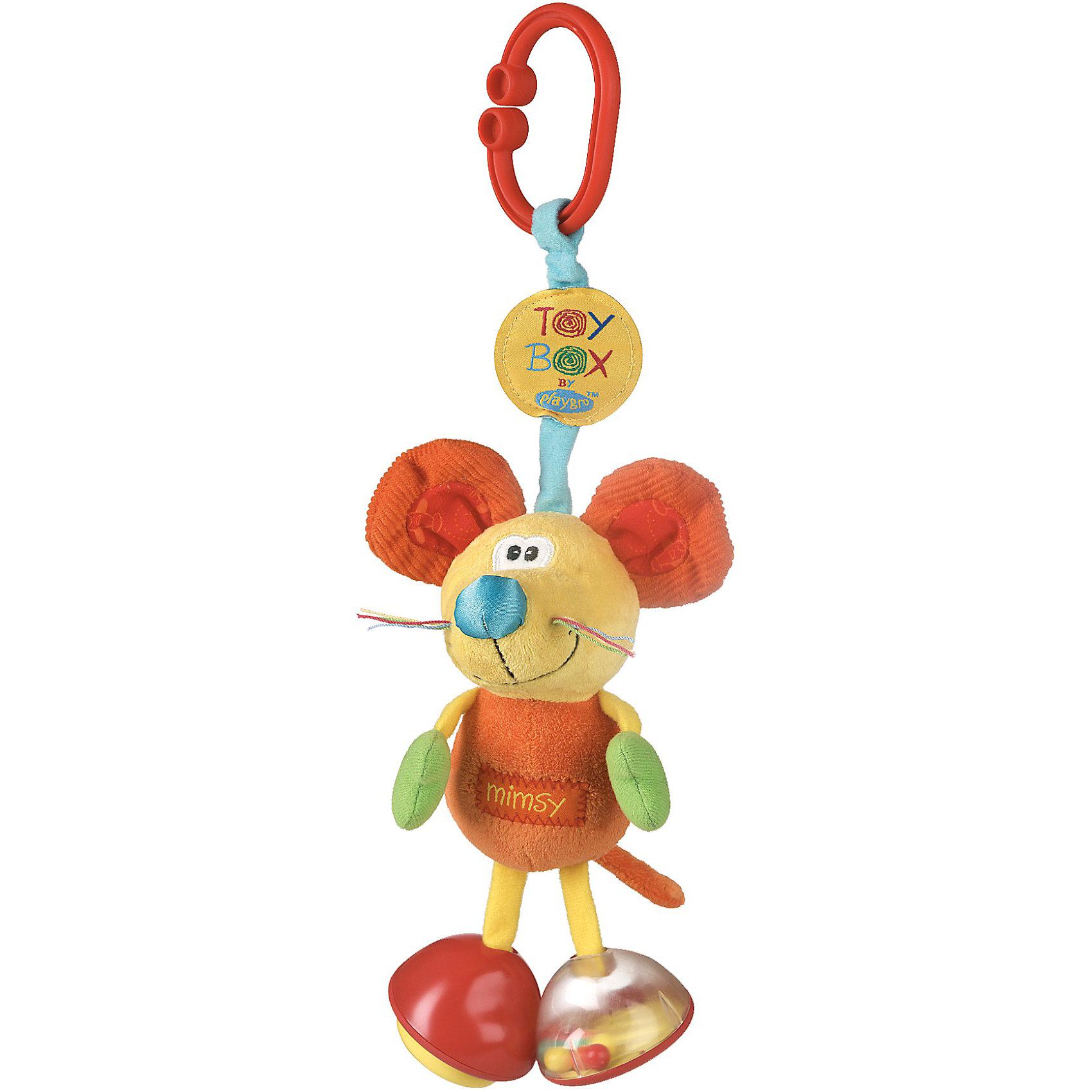 Мягкая игрушка-подвеска, PlaygroМягкие игрушки<br>Мягкая игрушка-подвеска, Playgro (Плейгро) – эта яркая, красивая игрушка-подвеска обязательно привлечет внимание Вашего малыша.<br>Мягкая игрушка-подвеска в виде милой мышки выполнена из разной по фактуре ткани. Ножки мышки представляют собой погремушку и пищалку, лапы и ушки оснащены шуршащими вставками. Подвеска легко крепится на любой тип коляски с помощью большого зажима. Способствует развитию первичных навыков (внимательности, наблюдательности, мелкой моторики), повышению коэффициента эмоциональности (вызывает улыбку и смех) и познания в целом, вырабатывает у малыша реакцию на звук. Изготовлена из гипоаллергенных и безопасных материалов.<br><br>Дополнительная информация:<br><br>- Для детей с рождения<br>- Размер без зажима: 18 см.<br>- Материал: текстиль, пластик<br><br>Мягкую игрушку-подвеску, Playgro (Плейгро) можно купить в нашем интернет-магазине.<br><br>Ширина мм: 90<br>Глубина мм: 70<br>Высота мм: 160<br>Вес г: 120<br>Возраст от месяцев: 0<br>Возраст до месяцев: 18<br>Пол: Унисекс<br>Возраст: Детский<br>SKU: 3775854