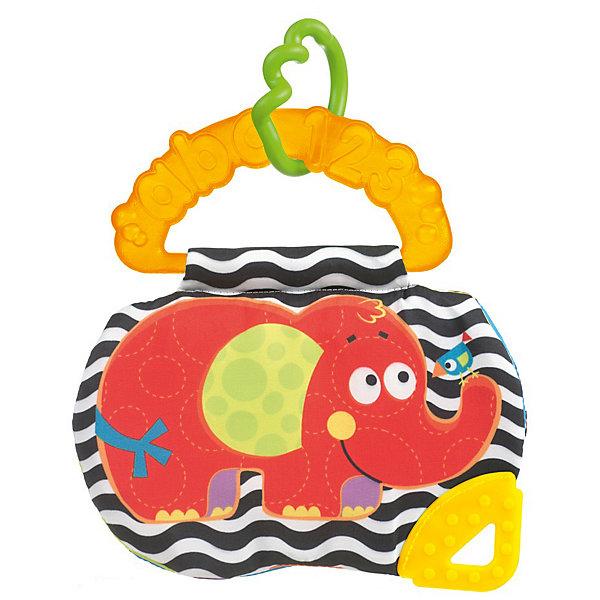 Книжка-прорезыватель Слоник, PlaygroРазвивающие игрушки<br>Книжка-прорезыватель Слоник, Playgro (Плейгро) – это разнофактурная книжка-прорезыватель с изображением с забавных животных, которая подойдет и для мальчиков, и для девочек. Малыши с удовольствием будут разглядывать веселые картинки с животными. У книжки 3 разноцветные и разнофактурные странички. На лицевой стороне книжки изображен потешный шуршащий слоник и удобный треугольник-прорезыватель, который сможет успокоить десны малыша при появлении новых зубов. Вторая страница оформлена картинкой с озорной пандой, которая пищит при нажатии. Третья страница украшена картинкой с веселым крокодилом и птичками. На двух разворотах книжки имеются окошечки для фотографий. Книжку можно подвесить за специальное крепление. На его рельефной ручке изображены выпуклые буквы и цифры. Книга-прорезыватель Слоник развивает у ребенка тактильное восприятие, осязание, мелкую моторику пальцев и рук, звуковое восприятие. Она изготовлена из гипоаллергенных и безопасных материалов.<br><br>Дополнительная информация:<br><br>- Размер: 21х17х3 см.<br>- Материал: текстиль, пластик, силикон<br><br>Книжку-прорезыватель Слоник, Playgro (Плейгро) можно купить в нашем интернет-магазине.<br><br>Ширина мм: 225<br>Глубина мм: 35<br>Высота мм: 170<br>Вес г: 60<br>Возраст от месяцев: 3<br>Возраст до месяцев: 18<br>Пол: Унисекс<br>Возраст: Детский<br>SKU: 3775855