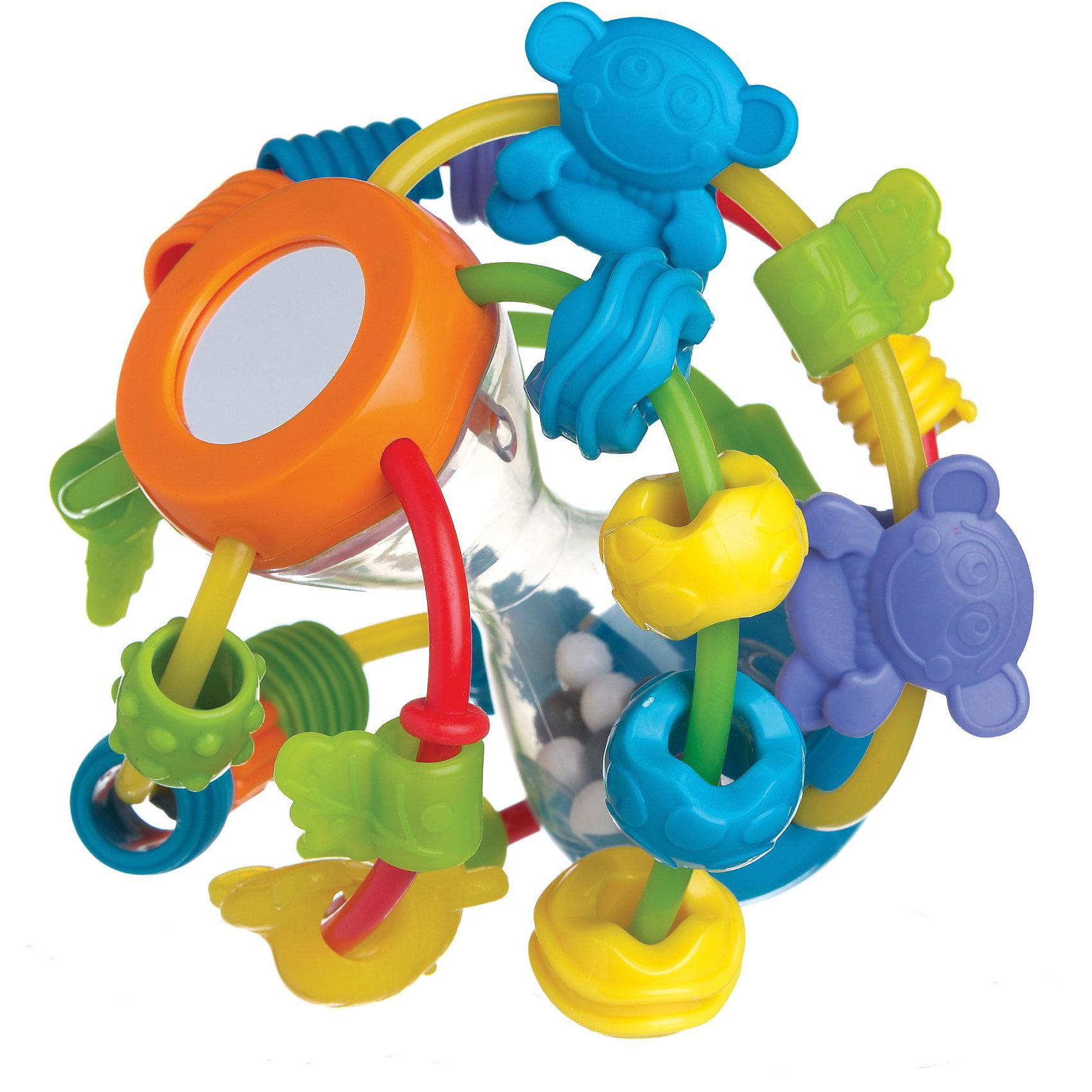 Развивающая игрушка ШАР, PlaygroИгрушки для малышей<br>Развивающая игрушка ШАР, Playgro (Плейгро) – эта яркая, красивая игрушка обязательно привлечет внимание Вашего малыша. Шар имеет прозрачное основание в виде песочных часов, по которому с веселым треском перекатываются черно-белые шарики. На пластиковые прутики, тянущиеся от верхней части основания к нижней, нанизано множество бусинок и фигурок разных цветов и форм, которые можно передвигать. Игрушка поможет ребенку развить мелкую моторику рук, зрительное и слуховое восприятие, тактильные ощущения и координацию движений. Изготовлена из гипоаллергенных и безопасных материалов.<br><br>Дополнительная информация:<br><br>- Размер: 19x26x17 см.<br>- Материал: пластик<br><br>Развивающую игрушку ШАР, Playgro (Плейгро) можно купить в нашем интернет-магазине.<br><br>Ширина мм: 140<br>Глубина мм: 125<br>Высота мм: 180<br>Вес г: 290<br>Возраст от месяцев: 6<br>Возраст до месяцев: 18<br>Пол: Унисекс<br>Возраст: Детский<br>SKU: 3775857