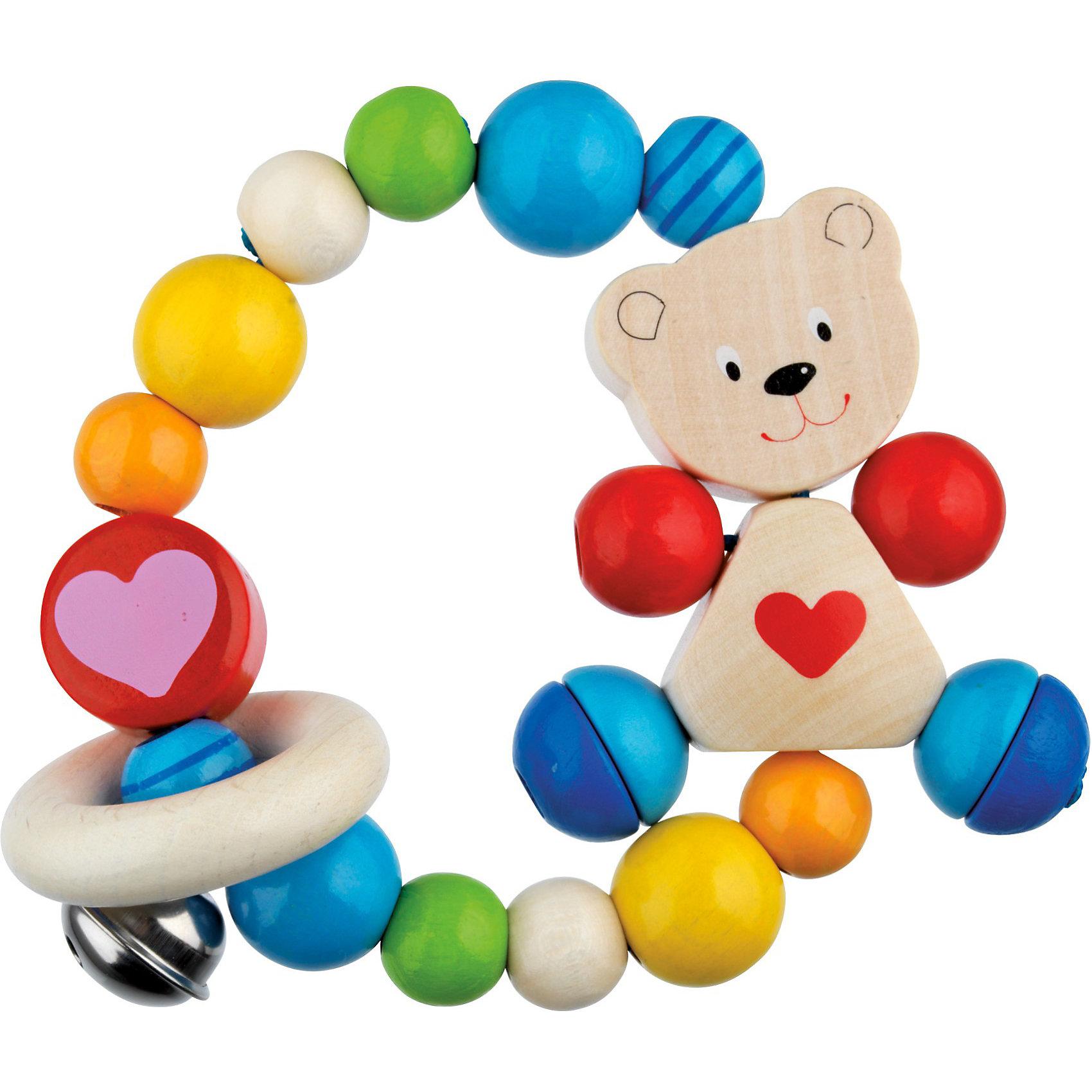 Игрушка-кольцо эластик Мишка с сердцем HEIMESSДеревянные игрушки очень полезны для малышей! Представляем игрушку, которая может стать находкой для мамочек младенцев: игрушка-кольцо эластик Мишка с сердцем от HEIMESS. В мячике, собранном из многочисленных деревянных бусин и колец, нанизанных на эластичный шнур, есть все для удовлетворения познавательных потребностей крошек: яркие цвета, разнообразные формы, возможность издавать звук. Благодаря занятиям с этой необычной погремушкой, у малышей развивается мелкая моторика, формируются причинно-следственные связи, развивается координация движений. Малыш будет стараться сам схватить игрушку, ведь деревянные бусины разного размера, фигурка мишки и колечки очень приятны на ощупь, а бубенчик издает приятный звон при движении. Древесина высокого качества обладает антибактериальным эффектом, и потому изготовители рекомендуют обрабатывать игрушку теплой водой без применения мыла. <br><br>Дополнительная информация:<br><br>- Игрушка причудливой формы состоит из разноцветных шариков разного размера, колечка, фигурки мишки и бубенчика;<br>- Игрушка идеальна для развития мелкой моторики;<br>- Материал: дерево, безопасные краски;<br>- Приятные цвета;<br>- Игрушка очень удобна для маленьких ручек;<br>- Безопасная игрушка для самых маленьких;<br>- Диаметр: 8,5 см;<br>- Вес: 39 г<br><br>Игрушку-кольцо эластик Мишка с сердцем, HEIMESS можно купить в нашем интернет-магазине.<br><br>Ширина мм: 85<br>Глубина мм: 85<br>Высота мм: 85<br>Вес г: 39<br>Возраст от месяцев: 0<br>Возраст до месяцев: 24<br>Пол: Унисекс<br>Возраст: Детский<br>SKU: 3777801