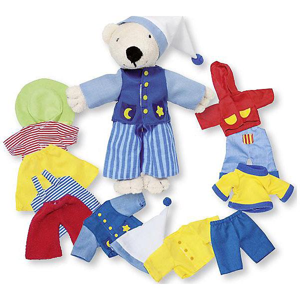 Мягкая кукла Мишка, с комплектом одежды, gokiМягкие игрушки животные<br>Мягкая кукла Мишка, с комплектом одежды от goki (гоки) - это добрый и мягкий друг, а так же прекрасный помощник в знакомстве с окружающим миром. Мишка всегда одевается по погоде, поэтому в наборе Вы найдете и забавную пижамку и летние прогулочные комплекты и утепленную одежду. У Мишки много друзей, поэтому ему необходима одежда для праздников. Переодевая медвежонка в ту одежду, которая соответствует игровой ситуации, дети будут учиться подбирать предметы гардероба в зависимости от времени года, научатся различать одежду повседневную, домашнюю, праздничную. Игры с переодеваниями и работа с различными фактурами помогает детям развивать мелкую и общую моторику, повышать возможности тактильного восприятия. Играя с Мишкой в сюжетно-ролевые игры ребята оттачивают речевые и коммуникативные навыки. Хранить Мишку и его гардероб очень легко, ведь он упакован в прочную и красивую картонную коробку.<br><br>Дополнительная информация:<br><br>- Мишка изготовлен из безопасных материалов высокого качества: плюша, текстиля, натурального хлопка;<br>- 7 комплектов одежды;<br>- Способствует развитию моторики и коммуникативных навыков;<br>- Все предметы гардероба прекрасно выполнены;<br>- Идеально подходит для мальчиков и девочек;<br>- Удобная упаковка;<br>- Прекрасный подарок;<br>- Размер: 18 см;<br>- Вес: 250 г<br><br>Мягкую куклу Мишка, с комплектом одежды goki (гоки) можно купить в нашем интернет-магазине.<br>Ширина мм: 180; Глубина мм: 180; Высота мм: 180; Вес г: 250; Возраст от месяцев: 36; Возраст до месяцев: 72; Пол: Женский; Возраст: Детский; SKU: 3777808;