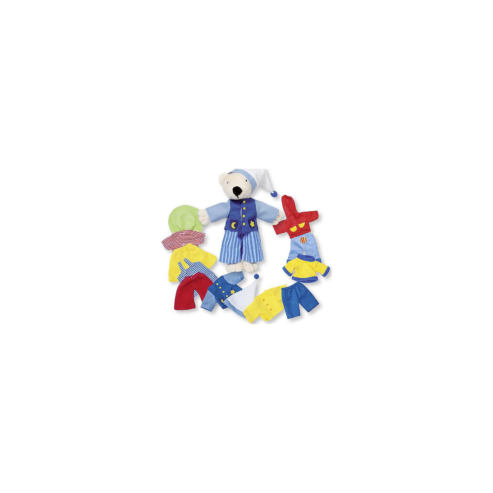 Мягкая кукла Мишка, с комплектом одежды, gokiМягкая кукла Мишка, с комплектом одежды от goki (гоки) - это добрый и мягкий друг, а так же прекрасный помощник в знакомстве с окружающим миром. Мишка всегда одевается по погоде, поэтому в наборе Вы найдете и забавную пижамку и летние прогулочные комплекты и утепленную одежду. У Мишки много друзей, поэтому ему необходима одежда для праздников. Переодевая медвежонка в ту одежду, которая соответствует игровой ситуации, дети будут учиться подбирать предметы гардероба в зависимости от времени года, научатся различать одежду повседневную, домашнюю, праздничную. Игры с переодеваниями и работа с различными фактурами помогает детям развивать мелкую и общую моторику, повышать возможности тактильного восприятия. Играя с Мишкой в сюжетно-ролевые игры ребята оттачивают речевые и коммуникативные навыки. Хранить Мишку и его гардероб очень легко, ведь он упакован в прочную и красивую картонную коробку.<br><br>Дополнительная информация:<br><br>- Мишка изготовлен из безопасных материалов высокого качества: плюша, текстиля, натурального хлопка;<br>- 7 комплектов одежды;<br>- Способствует развитию моторики и коммуникативных навыков;<br>- Все предметы гардероба прекрасно выполнены;<br>- Идеально подходит для мальчиков и девочек;<br>- Удобная упаковка;<br>- Прекрасный подарок;<br>- Размер: 18 см;<br>- Вес: 250 г<br><br>Мягкую куклу Мишка, с комплектом одежды goki (гоки) можно купить в нашем интернет-магазине.<br><br>Ширина мм: 180<br>Глубина мм: 180<br>Высота мм: 180<br>Вес г: 250<br>Возраст от месяцев: 36<br>Возраст до месяцев: 72<br>Пол: Женский<br>Возраст: Детский<br>SKU: 3777808