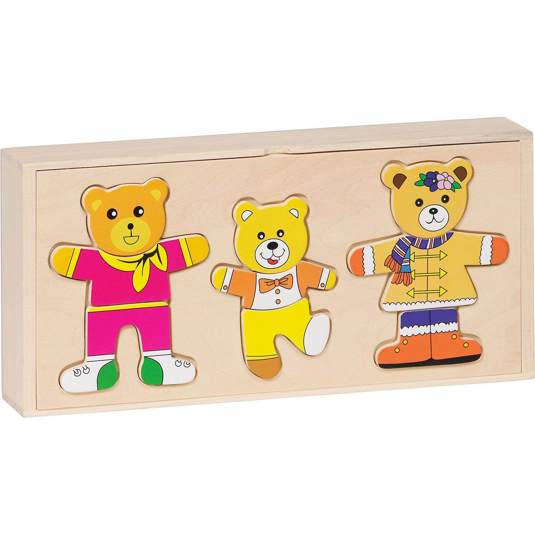 Пазлы в коробке Одень семью медведей, 54 дет., gokiПазл Одень семью медведей goki (гоки) - настоящая находка, ведь он предоставляет такие широкие возможности для игр. Пазл из натурального дерева, собирается прямо на крышке удобной коробочки в которой хранятся элементы. Вместе с семьей симпатичных медвежат можно начинать учить малыша аккуратности с самого раннего возраста. В специальных отделениях коробочки живет семья мишек: Папа, Мама и Сыночек-медвежонок. Мишки большие модники, ведь у них есть костюмчики на все случаи жизни. Малыш будет с удовольствием помогать им собираться на праздник или на прогулку, тем самым тренируя мелкую моторику и внимание. Также помимо одежды, можно подобрать и настроение каждого мишки, выбрав соответствующую головку (с улыбающимся, сердитым, смеющимся или спокойным личиком). Пазл настолько увлекательный, что игра с ним совмещает в себе пазл, ролевую игру, развивает речь и социализацию ребенка.<br><br>Дополнительная информация:<br><br>- 54 элемента;<br>- Можно подбирать не только одежду, но и выражение лиц;<br>- Удобная коробка для хранения элементов;<br>- Материалы: дерево, безопасные краски;<br>- Развивает моторику, координацию, мышление;<br>- Прекрасный дизайн;<br>- Размер: 27 х 13,5 см;<br>- Вес: 560 г<br><br>Пазлы в коробке Одень семью медведей, goki (гоки) можно купить в нашем интернет-магазине.<br><br>Ширина мм: 305<br>Глубина мм: 305<br>Высота мм: 140<br>Вес г: 560<br>Возраст от месяцев: 36<br>Возраст до месяцев: 48<br>Пол: Унисекс<br>Возраст: Детский<br>SKU: 3777814