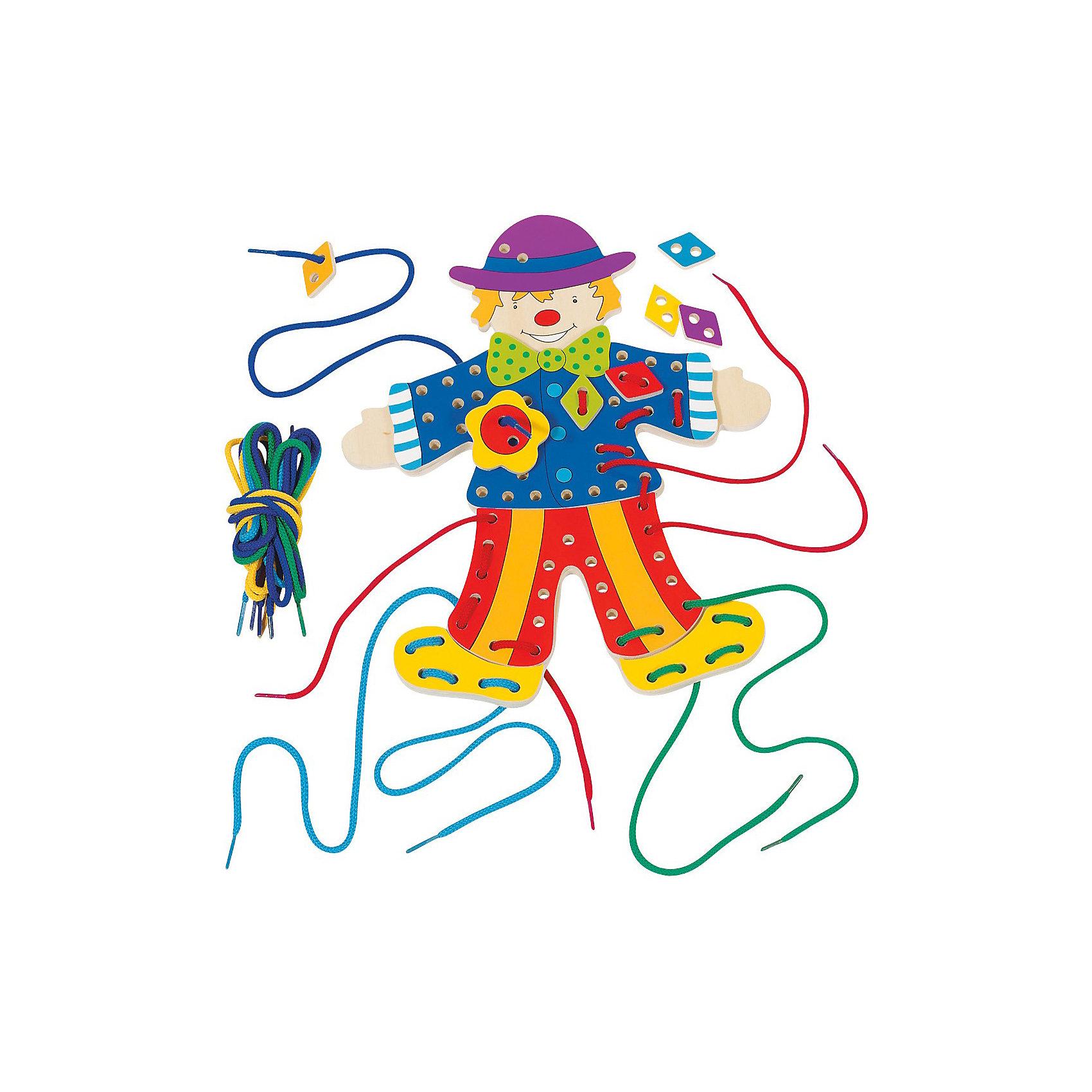 goki Шнуровка Клоун, goki развивающие игрушки goki шнуровка медвежата