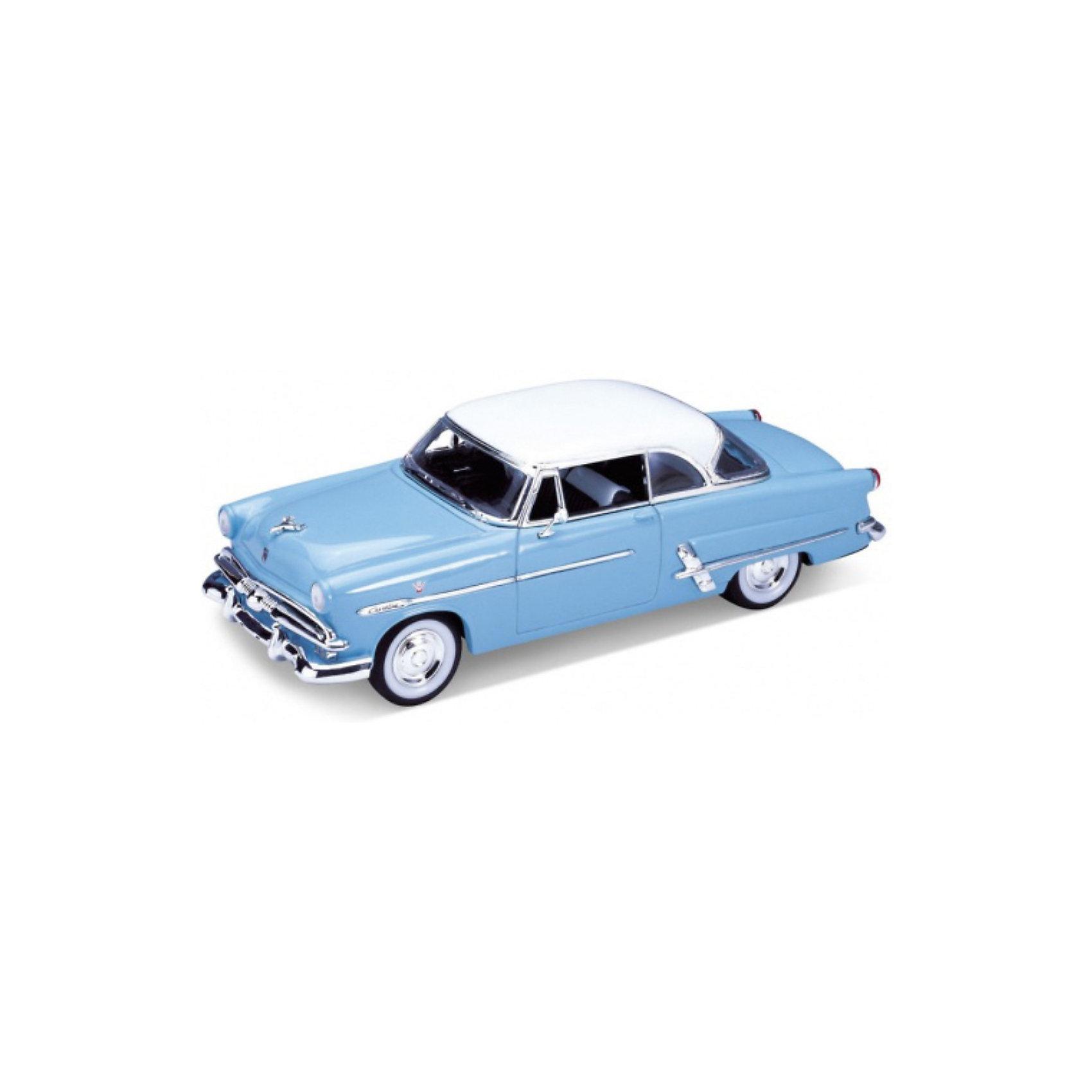 Модель винтажной машины 1:24 Ford Victoria 1953, WellyМашинки<br>Модель винтажной машины Ford Victoria 1953 от Welly (Велли) станет замечательным подарком для автолюбителей и коллекционеров всех возрастов. В коллекции масштабных моделей Welly представлено все многообразие автотехники: ретро-автомобили, легковые автомобили различных марок, грузовики, автомобили городских служб и многое другое. Все машинки отличаются высокой степенью детализации и тщательной проработкой всех элементов.<br><br>Машинка Ford Victoria 1953 голубого цвета с белой крышей - это точная копия настоящего ретро-автомобиля в масштабе 1:24. Автомобиль Ford Victoria был выпущен в 1953 году и отличался оригинальным дизайном с заниженной крышей и хромированными элементами кузова. Модель от Welly оснащена прочными стеклами, интерьер салона и органы управления тщательно проработаны. Двери и багажник открываются, колеса вращаются. Корпус машинки выполнен из металла, а отделка салона и декоративные элементы из пластика.<br><br>Дополнительная информация:<br><br>- Материал: металл, пластик, колеса прорезиненные.<br>- Масштаб: 1:24.<br>- Размер модели: 8 х 18 х 5 см.<br>- Размер упаковки: 11 х 23 х 10 см.<br>- Вес: 0,5 кг. <br><br>Модель винтажной машины Ford Victoria 1953, Welly можно купить в нашем интернет-магазине.<br><br>Ширина мм: 230<br>Глубина мм: 110<br>Высота мм: 110<br>Вес г: 534<br>Возраст от месяцев: 36<br>Возраст до месяцев: 192<br>Пол: Мужской<br>Возраст: Детский<br>SKU: 3777881