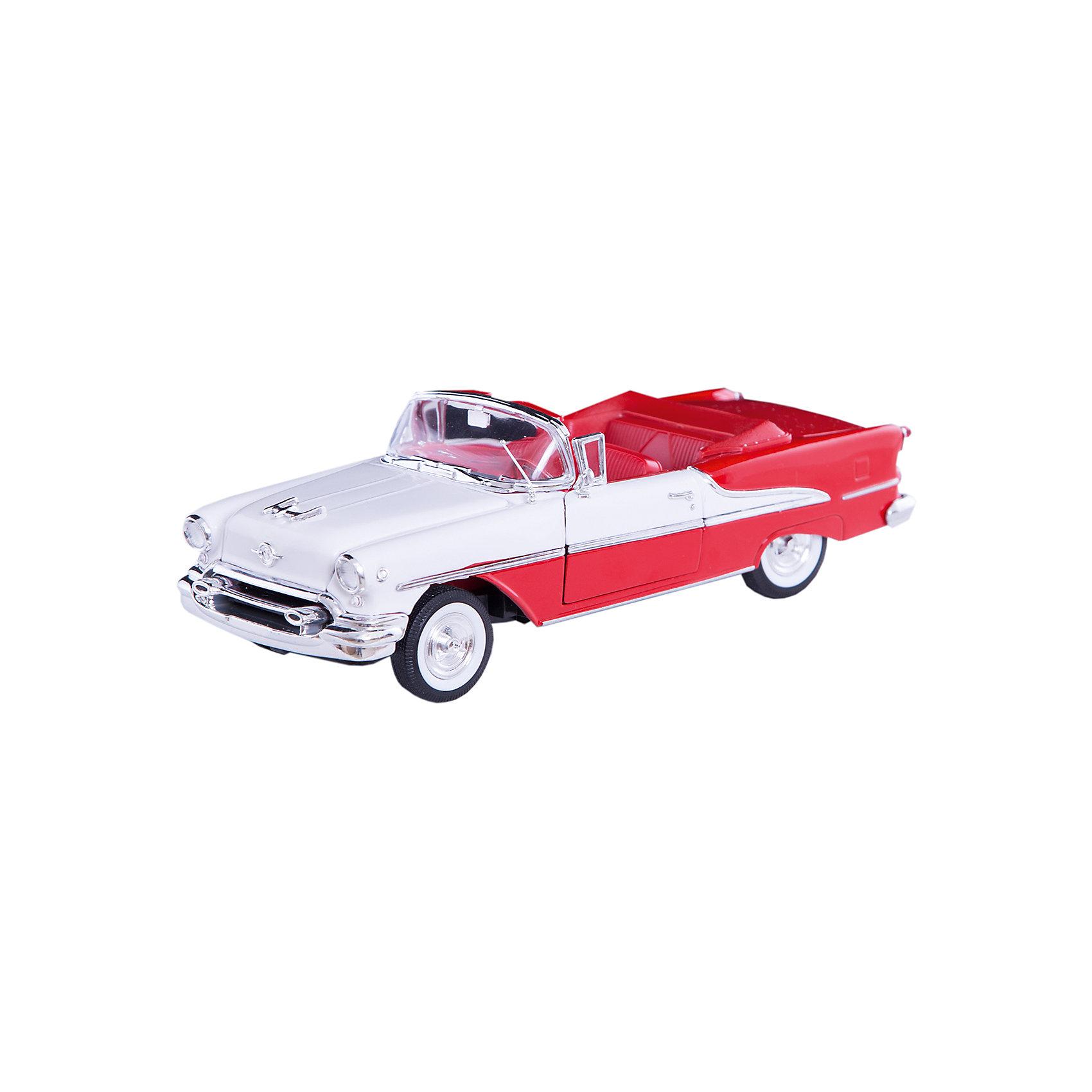 Модель винтажной машины 1:24 Oldsmobile Super 1955, WellyКоллекционные модели<br>Модель винтажной машины Oldsmobile Super 1955 от Welly (Велли) станет замечательным подарком для автолюбителей и коллекционеров всех возрастов. В коллекции масштабных моделей Welly представлено все многообразие автотехники: ретро-автомобили, легковые автомобили различных марок, грузовики, автомобили городских служб и многое другое. Все машинки отличаются высокой степенью детализации и тщательной проработкой всех элементов.<br><br>Машинка кабриолет Oldsmobile Super 1955 - это точная копия настоящего ретро-автомобиля в масштабе 1:24. Oldsmobile является одной из старейших автомобильных марок, принадлежавшей корпорации General Motors, она была основана в 1897 году и просуществовала до 2004 года. Модель от Welly оснащена прочным лобовым стеклом, интерьер салона, органы управления и двигатель тщательно проработаны. Двери и капот открываются, руль и колеса вращаются. Корпус машинки выполнен из металла, а отделка салона и декоративные элементы из пластика.<br><br>Дополнительная информация:<br><br>- Материал: металл, пластик, колеса прорезиненные.<br>- Масштаб: 1:24.<br>- Размер модели: 8 х 18 х 5 см.<br>- Размер упаковки: 11 х 23 х 10 см.<br>- Вес: 0,6 кг. <br><br>Модель винтажной машины Oldsmobile Super 1955, Welly можно купить в нашем интернет-магазине.<br><br>Ширина мм: 230<br>Глубина мм: 110<br>Высота мм: 100<br>Вес г: 567<br>Возраст от месяцев: 36<br>Возраст до месяцев: 192<br>Пол: Мужской<br>Возраст: Детский<br>SKU: 3777882