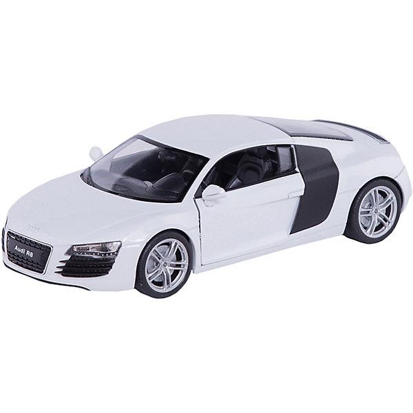 Модель машины 1:24 Audi R8, WellyМашинки<br>Модель машины Audi R8 от Welly (Велли) станет замечательным подарком для автолюбителей всех возрастов. В коллекции масштабных моделей Welly представлено все многообразие автотехники: ретро-автомобили, легковые автомобили различных марок, грузовики, автомобили городских служб и многое другое. Все машинки отличаются высокой степенью детализации и тщательной проработкой всех элементов.<br><br>Спорткар Audi R8 представляет собой точную копию настоящего автомобиля в масштабе 1:24. Немецкий автомобиль купе Audi R8 был выпущен в 2007 году и отличается оригинальным дизайном с необычными передним фарами и боковыми декоративными панелями на кузове. Модель от Welly оснащена прочными стеклами и зеркалами заднего вида, интерьер салона, двигатель и органы управления тщательно проработаны. Двери и капот открываются, колеса вращаются. Корпус машинки выполнен из металла, а отделка салона и декоративные элементы из пластика.<br><br>Дополнительная информация:<br><br>- Материал: металл, пластик, колеса прорезиненные.<br>- Масштаб: 1:24.<br>- Размер модели: 8 х 18 х 5 см.<br>- Размер упаковки: 11 х 23 х 10 см.<br>- Вес: 0,6 кг. <br><br>Модель машины Audi R8, Welly можно купить в нашем интернет-магазине.<br>Ширина мм: 230; Глубина мм: 110; Высота мм: 100; Вес г: 504; Возраст от месяцев: 36; Возраст до месяцев: 192; Пол: Мужской; Возраст: Детский; SKU: 3777887;