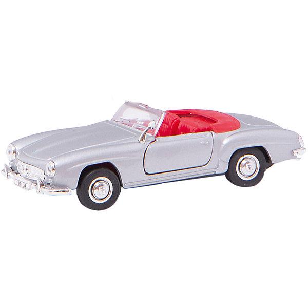 Модель винтажной машины 1:34-39 Mercedes Benz 190SL 1955, WellyМашинки<br>Модель винтажной машины Mercedes Benz 190SL 1955, Welly (Велли) станет замечательным подарком для автолюбителей и коллекционеров всех возрастов. В коллекции масштабных моделей Welly представлено все многообразие автотехники: ретро-автомобили, легковые автомобили различных марок, грузовики, автомобили городских служб и многое другое. Все машинки отличаются высокой степенью детализации и тщательной проработкой всех элементов.<br><br>Машинка Mercedes Benz 190SL 1955 представляет собой точную копию настоящего автомобиля в масштабе 1:34-39. Кабриолет Mercedes Benz 190SL впервые был представлен в 1955 году на автосалоне в Женеве и пользовался большой популярностью благодаря своей скорости, маневренности и легкости в управлении. Модель от Welly оснащена прочным лобовым стеклом, интерьер салона и органы управления тщательно проработаны. Передние двери открываются, руль не вращается. Автомобиль снабжен инерционным механизмом, ускоряется при толчке. Корпус модели выполнен из металла, а отделка салона и декоративные элементы из пластика.<br><br>Дополнительная информация:<br><br>- Материал: металл, пластик, колеса прорезиненные.<br>- Масштаб: 1:34-39.<br>- Размер упаковки: 15 х 12 х 6 см.<br>- Вес: 0,15 кг. <br><br>Модель винтажной машины Mercedes Benz 190SL 1955, Welly можно купить в нашем интернет-магазине.<br>Ширина мм: 150; Глубина мм: 60; Высота мм: 110; Вес г: 147; Возраст от месяцев: 36; Возраст до месяцев: 192; Пол: Мужской; Возраст: Детский; SKU: 3777901;