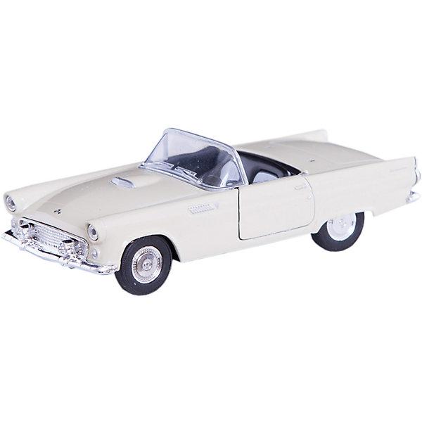Модель винтажной машины 1:34-39 Ford Thunderbird 1955, WellyМашинки<br>Модель винтажной машины Ford Thunderbird 1955, Welly (Велли) станет замечательным подарком для автолюбителей и коллекционеров всех возрастов. В коллекции масштабных моделей Welly представлено все многообразие автотехники: ретро-автомобили, легковые автомобили различных марок, грузовики, автомобили городских служб и многое другое. Все машинки отличаются высокой степенью детализации и тщательной проработкой всех элементов.<br><br>Машинка Ford Thunderbird 1955 представляет собой точную копию настоящего ретро-автомобиля в масштабе 1:34-39. Автомобиль Ford Thunderbird был выпущен в 1955 году и отличался необычным для того времени дизайном и повышенным комфортом, его название было позаимствовано из мифологии североамериканских индейцев, у которых Громовая Птица (Thunderbird) - дух грозы, молнии и дождя. Модель от Welly оснащена прочным лобовым стеклом, интерьер салона и органы управления тщательно проработаны. Передние двери открываются. Автомобиль снабжен инерционным механизмом, ускоряется при толчке. Корпус модели выполнен из металла, а отделка салона и декоративные элементы из пластика.<br><br>Дополнительная информация:<br><br>- Материал: металл, пластик, колеса прорезиненные.<br>- Масштаб: 1:34-39.<br>- Размер упаковки: 15 х 6 х 12 см.<br>- Вес: 0,15 кг. <br><br>Модель винтажной машины Ford Thunderbird 1955, Welly можно купить в нашем интернет-магазине.<br>Ширина мм: 150; Глубина мм: 60; Высота мм: 110; Вес г: 150; Возраст от месяцев: 36; Возраст до месяцев: 192; Пол: Мужской; Возраст: Детский; SKU: 3777913;