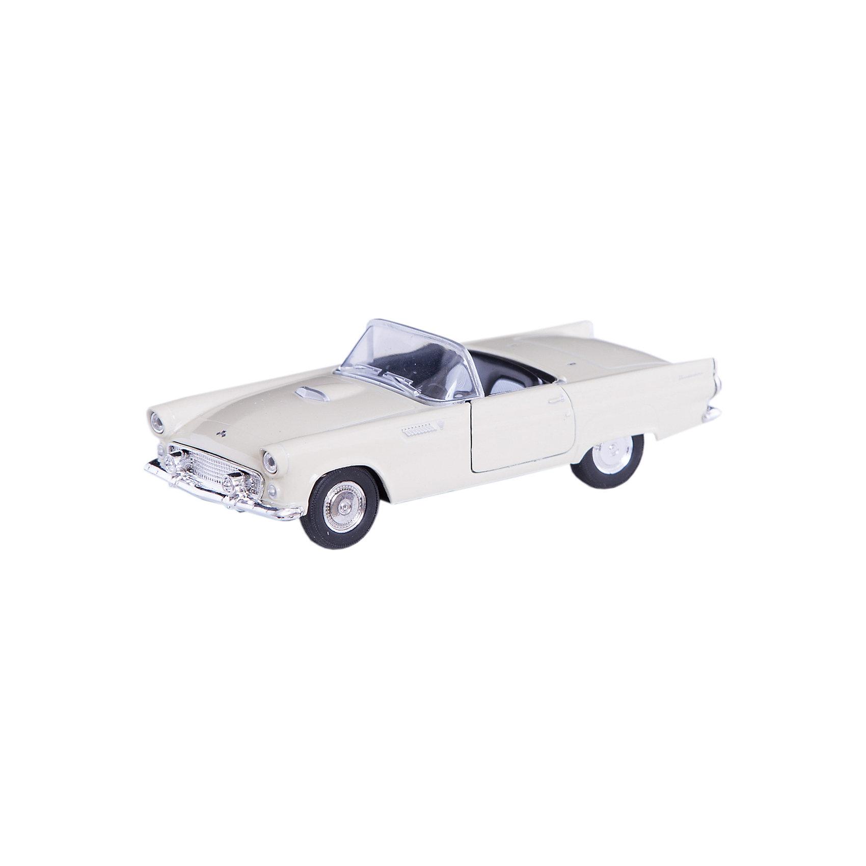 Модель винтажной машины 1:34-39 Ford Thunderbird 1955, WellyКоллекционные модели<br>Модель винтажной машины Ford Thunderbird 1955, Welly (Велли) станет замечательным подарком для автолюбителей и коллекционеров всех возрастов. В коллекции масштабных моделей Welly представлено все многообразие автотехники: ретро-автомобили, легковые автомобили различных марок, грузовики, автомобили городских служб и многое другое. Все машинки отличаются высокой степенью детализации и тщательной проработкой всех элементов.<br><br>Машинка Ford Thunderbird 1955 представляет собой точную копию настоящего ретро-автомобиля в масштабе 1:34-39. Автомобиль Ford Thunderbird был выпущен в 1955 году и отличался необычным для того времени дизайном и повышенным комфортом, его название было позаимствовано из мифологии североамериканских индейцев, у которых Громовая Птица (Thunderbird) - дух грозы, молнии и дождя. Модель от Welly оснащена прочным лобовым стеклом, интерьер салона и органы управления тщательно проработаны. Передние двери открываются. Автомобиль снабжен инерционным механизмом, ускоряется при толчке. Корпус модели выполнен из металла, а отделка салона и декоративные элементы из пластика.<br><br>Дополнительная информация:<br><br>- Материал: металл, пластик, колеса прорезиненные.<br>- Масштаб: 1:34-39.<br>- Размер упаковки: 15 х 6 х 12 см.<br>- Вес: 0,15 кг. <br><br>Модель винтажной машины Ford Thunderbird 1955, Welly можно купить в нашем интернет-магазине.<br><br>Ширина мм: 150<br>Глубина мм: 60<br>Высота мм: 110<br>Вес г: 150<br>Возраст от месяцев: 36<br>Возраст до месяцев: 192<br>Пол: Мужской<br>Возраст: Детский<br>SKU: 3777913