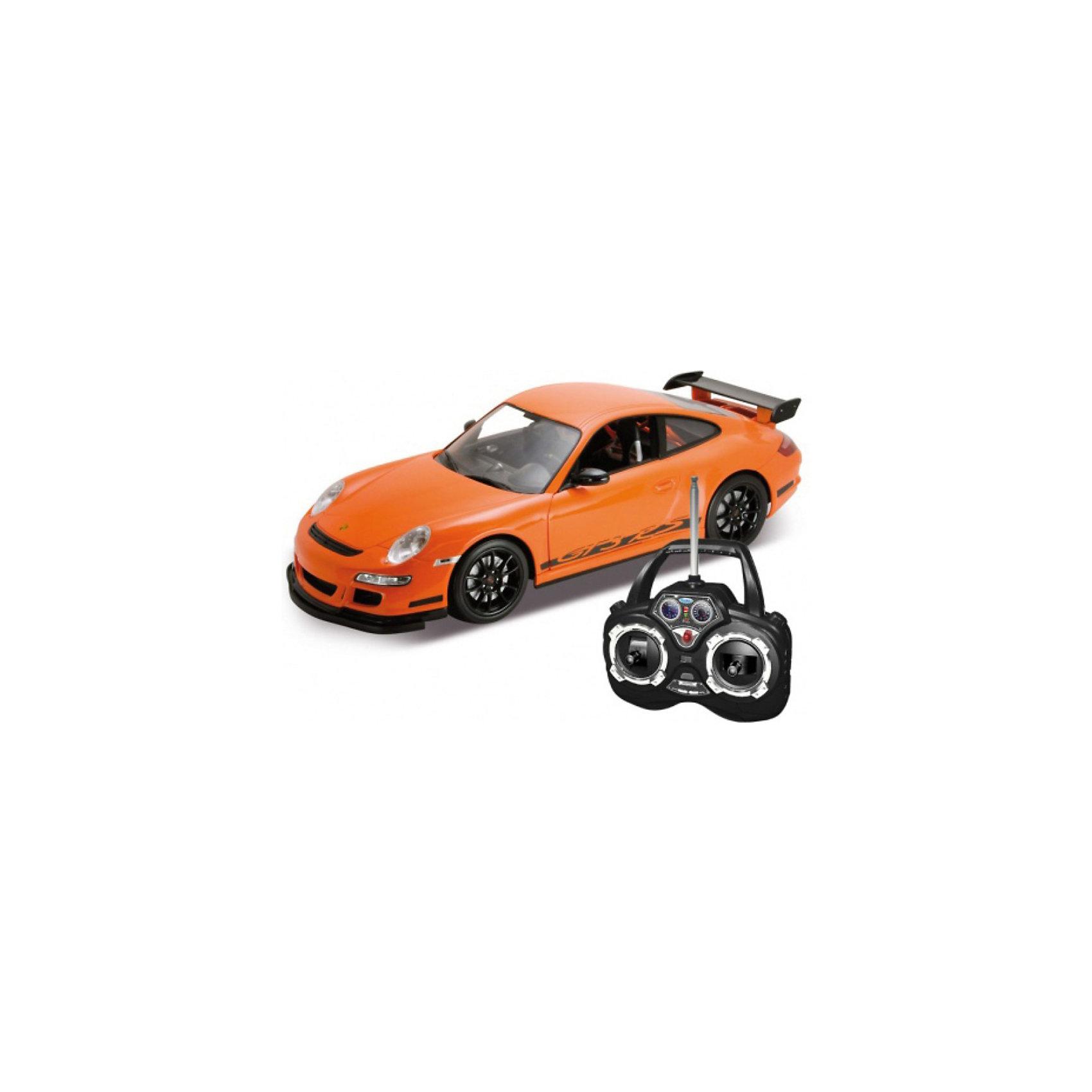 Модель машины 1:12 PORSCHE GT3, на радиоуправлении, WellyМодель машины Porsche GT3 от Welly (Велли) на радиоуправлении станет отличным подарком для всех юных автолюбителей, это замечательная игрушка для активных подвижных игр, с которой можно играть как дома, так и на улице. В коллекции масштабных моделей Welly представлено все многообразие автотехники: ретро-автомобили, легковые автомобили различных марок, грузовики, автомобили на радиоуправлении и многое другое. Все машинки отличаются высокой степенью детализации и тщательной проработкой всех элементов.<br><br>Машинка Porsche GT3  представляет собой точную копию настоящего спортивного автомобиля в масштабе 1:12. Модель от Welly оснащена прочным лобовым стеклом и зеркалами заднего вида, интерьер салона и органы управления тщательно проработаны.<br>Автомобиль управляется с помощью пульта радиоуправления, может двигаться с различной скоростью вперёд, назад, влево, вправо. При движении у машинки загораются фары, с пульта управления можно отрывать двери. Радиус действия пульта управления составляет около 30 м.<br><br>Дополнительная информация:<br><br>- Материал: пластик.<br>- Масштаб: 1:12.<br>- Требуются батарейки: для машины - 6 х AA / LR6 1.5V, для пульта - 4 х AA / LR6 1.5V (не входят в комплект).<br>- Размер модели: 30 х 11 см. <br>- Размер упаковки: 48 х 22 х 17 см.<br>- Вес: 2 кг. <br><br>Модель машины Porsche GT3 на радиоуправлении, Welly можно купить в нашем интернет-магазине.<br><br>Ширина мм: 480<br>Глубина мм: 225<br>Высота мм: 175<br>Вес г: 1930<br>Возраст от месяцев: 36<br>Возраст до месяцев: 192<br>Пол: Мужской<br>Возраст: Детский<br>SKU: 3777930
