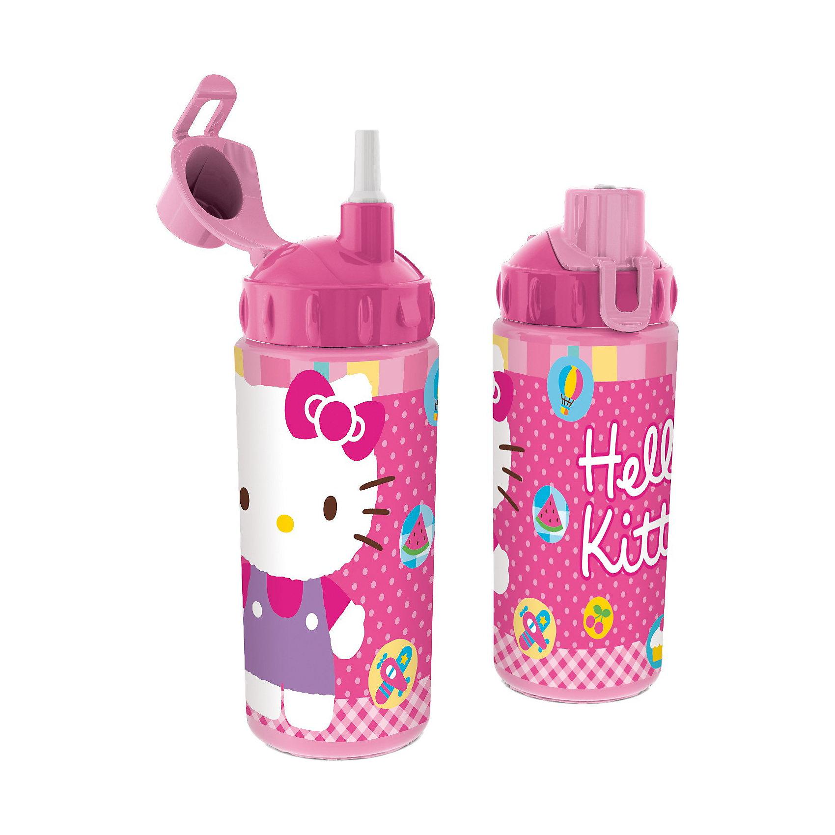 Бутылка спортивная с соломинкой (360 мл), Hello Kitty