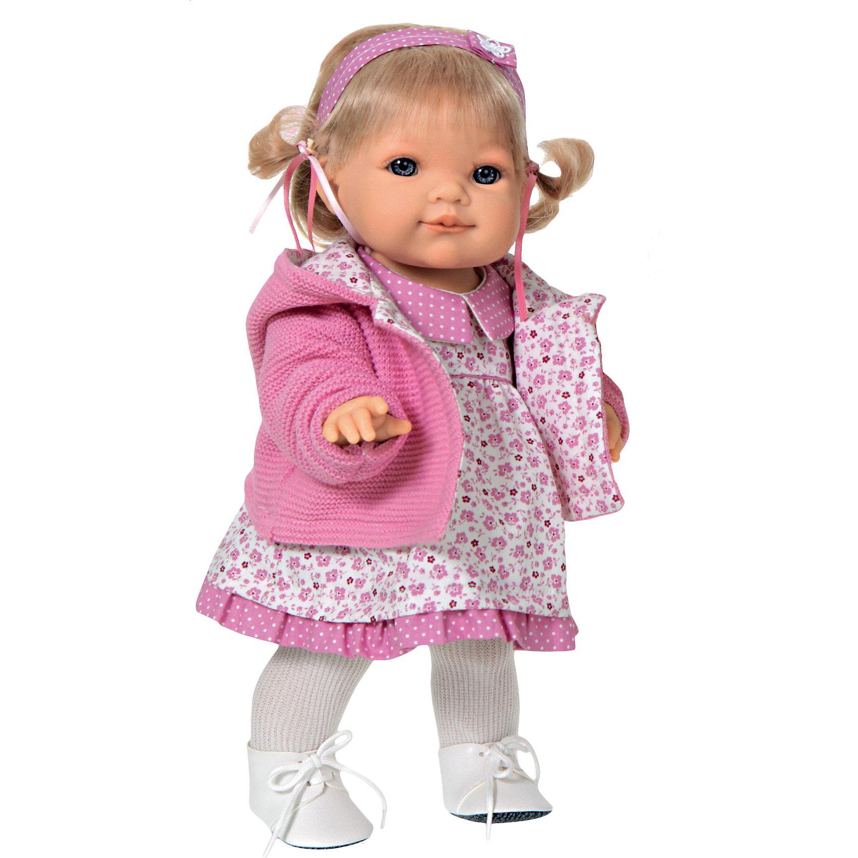 Кукла Эвита в розовом, 38 см, Munecas Antonio JuanИдеи подарков<br>Кукла Эвита в розовом, 38 см, JUAN ANTONIO munecas (ХУАН АНТОНИО мунекас) – это качественные игрушки из Испании, популярные во всем мире.<br>Кукла Эвита такая милая и очаровательная, что не оставит равнодушным ни ребенка, ни взрослого. Эта кукла-малышка Эвита совсем как настоящая маленькая девочка, со своей мимикой, складочками на теле и цвету кожи. Малышка Эвита – озорная девушка, любящая активные игры на свежем воздухе. Она не за что не замерзнет на прогулке, потому что тепло одета. На кукле одето платьице с отложным воротничком, вязаная кофточка, теплые колготки, ботиночки на шнурках. У куклы светлые волосы, собранные в озорные хвостики и голубые глаза. Образы кукол-малышей разработаны известными дизайнерами кукол. Куклы натуралистичны, анатомически точны, с подвижными ручками и ножками, копируют настоящих младенцев. Кукла изготовлена из высококачественного эластичного винила.<br><br>Дополнительная информация:<br><br>- Глаза куклы не закрываются<br>- Высоты куклы: 38 см.<br><br>Куклу Эвита в розовом, 38 см, JUAN ANTONIO munecas (ХУАН АНТОНИО мунекас) можно купить в нашем интернет-магазине.<br><br>Ширина мм: 120<br>Глубина мм: 250<br>Высота мм: 440<br>Вес г: 1250<br>Возраст от месяцев: 36<br>Возраст до месяцев: 72<br>Пол: Женский<br>Возраст: Детский<br>SKU: 3777972