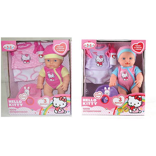 Интерактивная кукла Hello  Kitty, 30 см, КарапузИдеи подарков<br>Интерактивная кукла Hello  Kitty, Карапуз станет любимицей ваше девочки. Играя с такой куклой, девочка будет учиться заботиться и ухаживать за теми, кто младше. Куколка выглядит как настоящий младенец, может пить из бутылочки и писать в горшочек, ручки и ножки двигаются. Если нажать на специальную кнопку на горшочке, то на нем начнет светиться игрушка-зайчонок и зазвучит мелодия. Куклу можно купать. Пупс одет в симпатичный комбинезон с изображением белой кошечки Hello  Kitty и розовую шапочку. В<br>набор также входят бутылочка, горшочек со звуком и светом и дополнительный комплект сменной одежды.<br><br>Дополнительная информация:<br><br>- Материал: пластик, текстиль.<br>- Для куклы батарейки не требуются. Интерактивные аксессуары работают от батареек (демонстрационные в комплекте)<br>- Размер куклы: 30 см.<br>- Размер упаковки: 28 х 33 х 12 см. <br>- Вес: 0,9 кг.<br><br>Интерактивную куклу Hello  Kitty (Хелло Кити) , Карапуз можно купить в нашем интернет-магазине.<br><br>Ширина мм: 260<br>Глубина мм: 120<br>Высота мм: 330<br>Вес г: 790<br>Возраст от месяцев: 36<br>Возраст до месяцев: 120<br>Пол: Женский<br>Возраст: Детский<br>SKU: 3778124