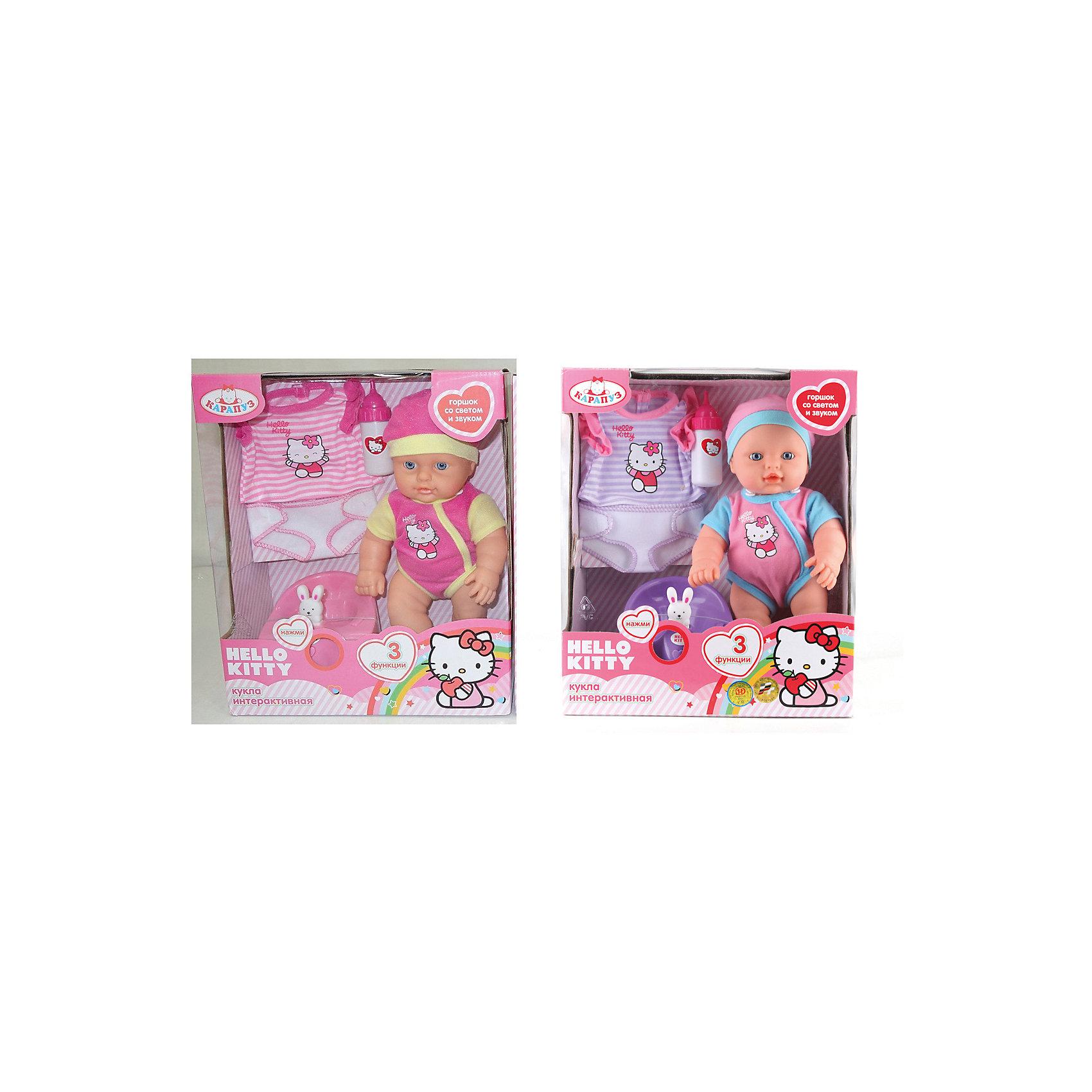 Интерактивная кукла Hello  Kitty, 30 см, КарапузИнтерактивные куклы<br>Интерактивная кукла Hello  Kitty, Карапуз станет любимицей ваше девочки. Играя с такой куклой, девочка будет учиться заботиться и ухаживать за теми, кто младше. Куколка выглядит как настоящий младенец, может пить из бутылочки и писать в горшочек, ручки и ножки двигаются. Если нажать на специальную кнопку на горшочке, то на нем начнет светиться игрушка-зайчонок и зазвучит мелодия. Куклу можно купать. Пупс одет в симпатичный комбинезон с изображением белой кошечки Hello  Kitty и розовую шапочку. В<br>набор также входят бутылочка, горшочек со звуком и светом и дополнительный комплект сменной одежды.<br><br>Дополнительная информация:<br><br>- Материал: пластик, текстиль.<br>- Для куклы батарейки не требуются. Интерактивные аксессуары работают от батареек (демонстрационные в комплекте)<br>- Размер куклы: 30 см.<br>- Размер упаковки: 28 х 33 х 12 см. <br>- Вес: 0,9 кг.<br><br>Интерактивную куклу Hello  Kitty (Хелло Кити) , Карапуз можно купить в нашем интернет-магазине.<br><br>Ширина мм: 260<br>Глубина мм: 120<br>Высота мм: 330<br>Вес г: 790<br>Возраст от месяцев: 36<br>Возраст до месяцев: 120<br>Пол: Женский<br>Возраст: Детский<br>SKU: 3778124