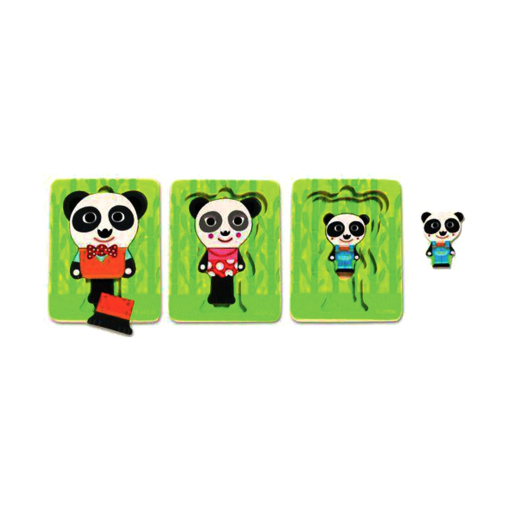 Трехслойный пазл Панда,  DJECOМногослойные пазлы сейчас очень популярны! Ведь сочетают в себе и увлекательную игру и пользу пазла. Малышу всегда интересно добраться до картинки, которая расположена в самом низу. Представляем Вашему вниманию деревянный трехслойный пазл Панда, который познакомит малыша с семьей очаровательных панд. Покажите малышу, как сопоставлять цвета и формы и он с радостью будет собирать маленькую семью снова и снова. В процессе игры ребенок может поиграть с пандой и его семьей, познакомиться с понятиями больше - меньше, дальше - ближе. Пазл полностью выполнен из натурального дерева, все его детали гладкие и яркие, поэтому он очень хорошо подойдет начинающим любителям пазлов. Трехслойный пазл Панда стимулирует развитие пространственного, творческого мышления и дарит прекрасное настроение всей семье!<br><br>Дополнительная информация:<br><br>- Многослойный пазл из натурального дерева;<br>- Прекрасный тренажер для моторных навыков, логического мышления, внимания;<br>- Подходит для первого знакомства с пазлами;<br>- Три слоя;<br>- Яркие цвета, безопасные краски;<br>- Продается в коробочке удобной для хранения;<br>- Размер пазла: 11 х 16 х 2 см;<br>- Вес: 200 г<br><br>Трехслойный пазл Панда DJECO (Джеко) можно купить в нашем интернет-магазине.<br><br>Ширина мм: 110<br>Глубина мм: 150<br>Высота мм: 25<br>Вес г: 500<br>Возраст от месяцев: 12<br>Возраст до месяцев: 36<br>Пол: Унисекс<br>Возраст: Детский<br>SKU: 3778400