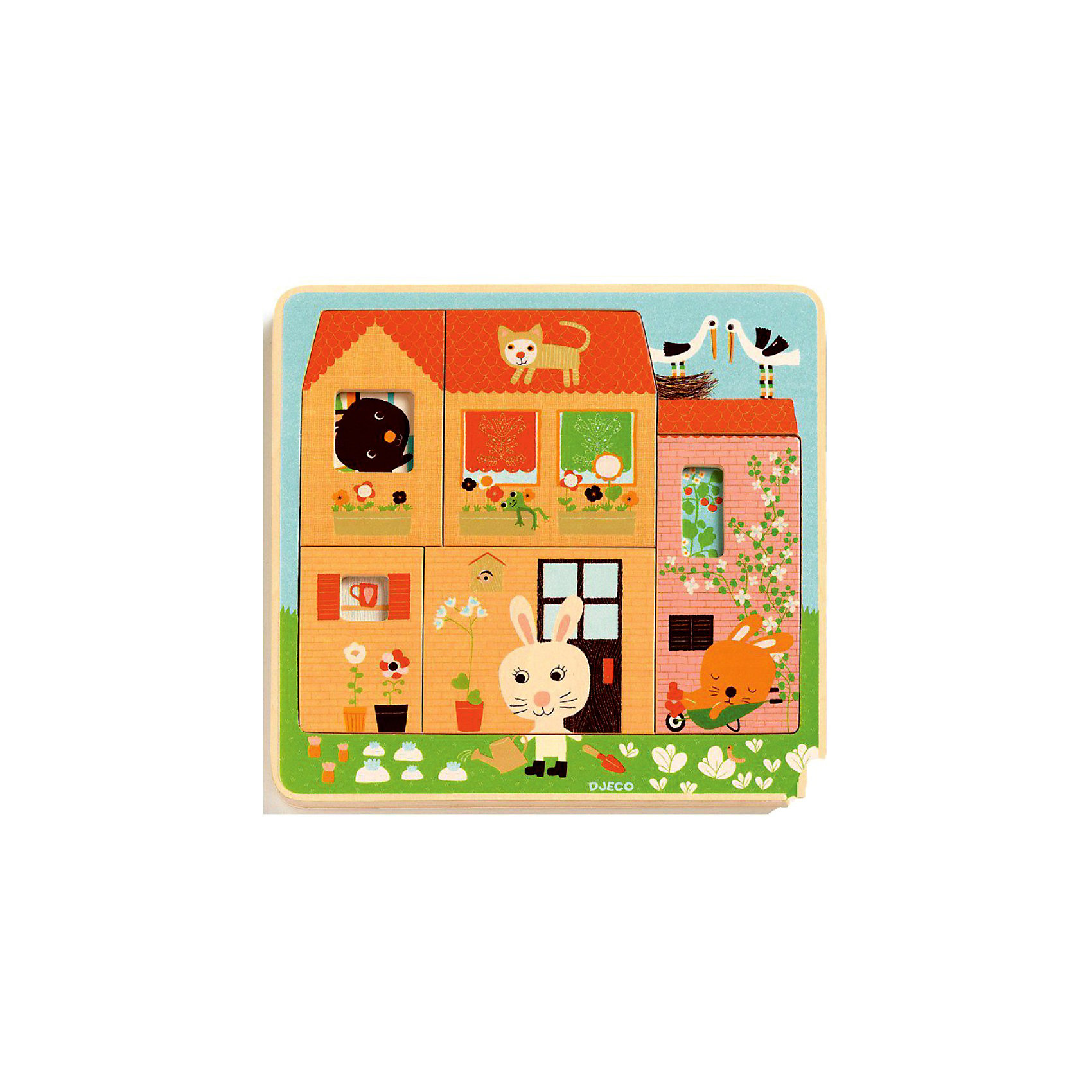 Трехслойный пазл Дом зайцев,  DJECOМногослойные пазлы сейчас очень популярны! Ведь сочетают в себе и увлекательную игру и пользу пазла. Увлекательный и яркий трехслойный пазл Дом зайцев от DJECO (Джеко) откроет малышу дверь в увлекательный мир забавных зайчишек. Пазл состоит из 3-х слоев: первый слой - домик заек, второй слой - комнаты, третий - сами зайчики. Малышу будет очень интересно играя и складывая изучать слой за слоем жизнь зайчиков в их доме. Покажите малышу, как сопоставлять цвета и формы и он с радостью будет собирать маленькую семью снова и снова. Пазл полностью выполнен из натурального дерева, все его детали гладкие и яркие, поэтому он очень хорошо подойдет начинающим любителям пазлов.  Игра развивает пространственное мышление, тренирует мелкую моторику. За веселой игрой у детей развивается воображение, они знакомятся с окружающим миром, его формами, размерами и цветами.<br><br>Дополнительная информация:<br><br>- Многослойный пазл из натурального дерева;<br>- Прекрасный тренажер для моторных навыков, логического мышления, внимания;<br>- Подходит для первого знакомства с пазлами;<br>- Три слоя;<br>- Яркие цвета, безопасные краски;<br>- Продается в коробочке удобной для хранения;<br>- Размер пазла: 26 х 26 х 2 см;<br>- Вес: 400 г<br><br>Трехслойный пазл Дом зайцев DJECO (Джеко) можно купить в нашем интернет-магазине.<br><br>Ширина мм: 260<br>Глубина мм: 260<br>Высота мм: 25<br>Вес г: 700<br>Возраст от месяцев: 24<br>Возраст до месяцев: 60<br>Пол: Унисекс<br>Возраст: Детский<br>SKU: 3778401