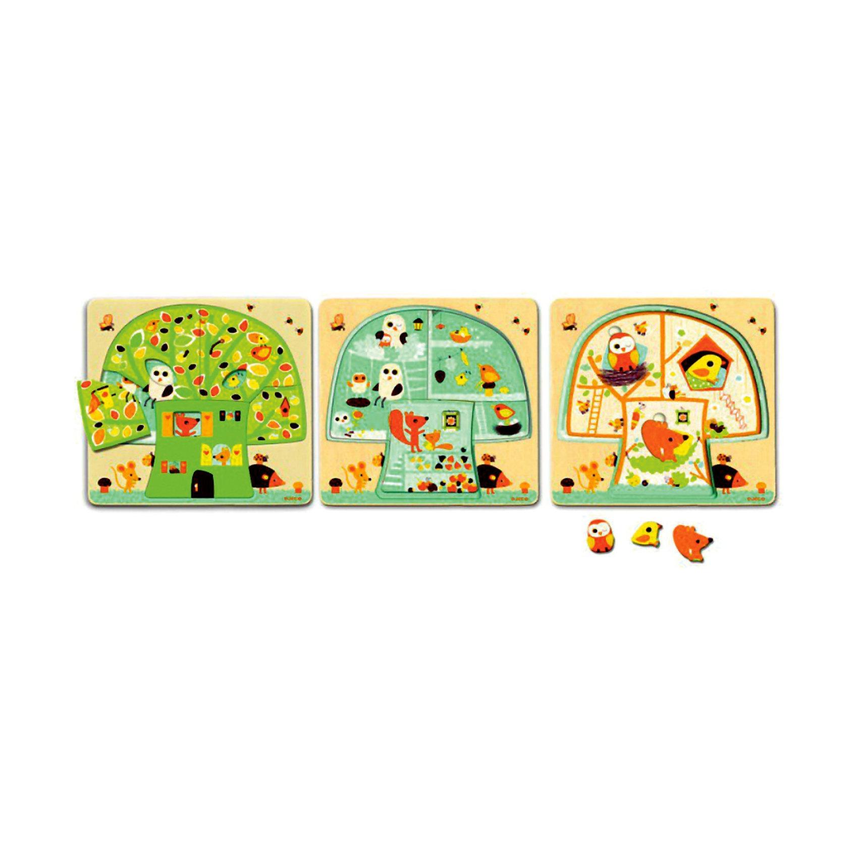 Трехслойный пазл Дом-дерево,  DJECOМногослойные пазлы сейчас очень популярны! Ведь сочетают в себе и увлекательную игру и пользу пазла. Увлекательный и яркий трехслойный пазл Дом-дерево от DJECO (Джеко) откроет малышу дверь в увлекательный мир забавных зверушек. Пазл состоит из 3х слоев: первый слой - домик-дерево, второй слой - комнаты, третий - зверята. Двери своих комнат крохе откроют: мудрая сова, проворный мышонок, колючий еж и игривая бабочка.  Малышу будет очень интересно играя и складывая, изучать слой за слоем жизнь зверят в их доме. Покажите малышу, как сопоставлять цвета и формы и он с радостью будет собирать маленькую семью снова и снова. Пазл полностью выполнен из натурального дерева, все его детали гладкие и яркие, поэтому он очень хорошо подойдет начинающим любителям пазлов.  Игра развивает пространственное мышление, тренирует мелкую моторику. За веселой игрой у детей развивается воображение, они знакомятся с окружающим миром, его формами, размерами и цветами.<br><br>Дополнительная информация:<br><br>- Многослойный пазл из натурального дерева;<br>- Прекрасный тренажер для моторных навыков, логического мышления, внимания;<br>- Подходит для первого знакомства с пазлами;<br>- Три слоя;<br>- Яркие цвета, безопасные краски;<br>- Продается в коробочке удобной для хранения;<br>- Размер пазла: 26 х 26 х 2 см;<br>- Вес: 400 г<br><br>Трехслойный пазл Дом-дерево DJECO (Джеко) можно купить в нашем интернет-магазине.<br><br>Ширина мм: 260<br>Глубина мм: 260<br>Высота мм: 25<br>Вес г: 700<br>Возраст от месяцев: 24<br>Возраст до месяцев: 60<br>Пол: Унисекс<br>Возраст: Детский<br>SKU: 3778402