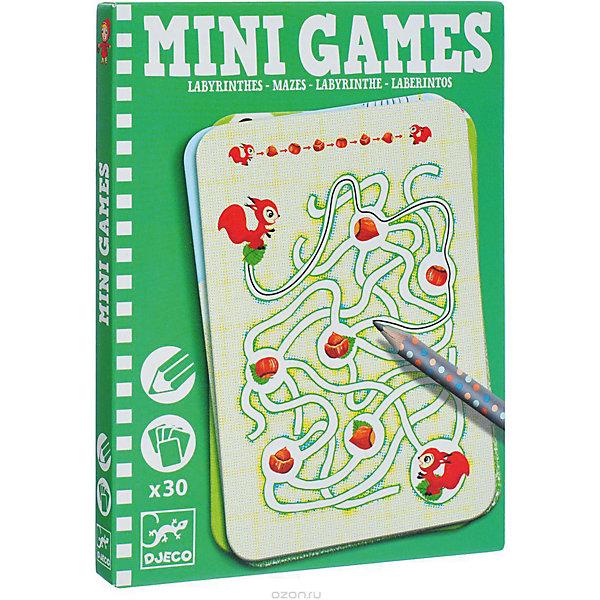 Настольная мини-игра Djeco Лабиринты АриадныИгры в дорогу<br>Забудьте о скучных путешествиях вместе с замечательной игрой Лабиринты Ариадны от DJECO (Джеко). Теперь в мини формате! Игра очень красивая и компактная, поэтому она идеальный спутник для маленького непоседы. В комплекте 30 игровых карточек на которых нарисованы любимые детьми забавные картинки. Цель игры заключается в том, чтобы помочь персонажам игры добраться до нужного места, проводя животных через сложный лабиринт и не попасть в тупик. На игровых карточках изображены запутанные лабиринты и герои, которым необходима помощь. Помогите животным выйти из лабиринта и не заблудиться! Игра настолько увлекательная, что ее можно использовать и для целой компании, находя нужную дорогу на скорость. Очень важно развивать у малыша внимание, усидчивость и логику. А лучше делать все это во время увлекательной игры, которая никогда не надоедает, ведь в наборе карточки с занимательными сюжетами!<br><br>Дополнительная информация: <br><br>- В наборе: 30 игровых карточек, карандаш;<br>- Удобно брать в путешествия;<br>- Можно играть одному или с компанией ;<br>- Отличный подарок;<br>- Понравится и взрослым и детям;<br>- Игра  продается в красивой картонной коробке;<br>- Размер упаковки: 11 х 15 х 2 см;<br>- Вес: 250 г<br><br>Мини игру Лабиринты Ариадны,  DJECO (Джеко) можно купить в нашем интернет-магазине.<br><br>Ширина мм: 110<br>Глубина мм: 150<br>Высота мм: 13<br>Вес г: 170<br>Возраст от месяцев: 72<br>Возраст до месяцев: 144<br>Пол: Унисекс<br>Возраст: Детский<br>SKU: 3778412