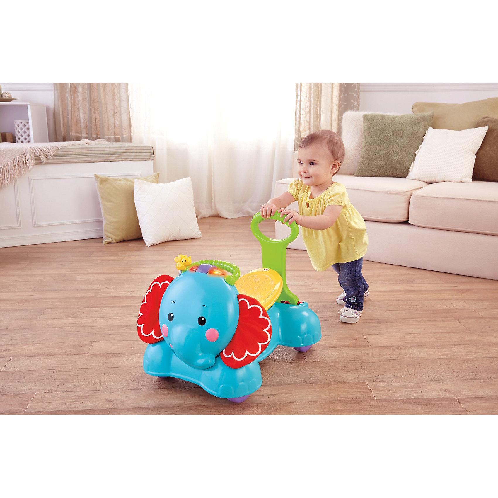Каталка Слоник, Fisher-PriceКаталка Слоник, Fisher-Price (Фишер-Прайс) - это красочная, многофункциональная игрушка со множество развивающих функций. Каталка выполнена в виде забавного слоника, передвигаться на котором малыш может двумя способами: самостоятельно, сидя в седле и отталкиваясь от пола ножками или с помощью родителей, которые могут возить каталку, держась за удобную ручку. По мере роста ребенка каталку можно использовать в качестве ходунков - ребенок будет самостоятельно держаться за ручку и катать слоненка по комнате. <br><br>На корпусе игрушки размещено множество красочных деталей и кнопок, нажимая на которые малыш сможет послушать различные мелодии и звуки и понаблюдать световые эффекты. Каталка компактно складывается и не занимает много места. Игрушка способствует развитию двигательной активности, звукового и цветового восприятия, координации движений и мелкой моторики рук.<br><br>Дополнительная информация:<br><br>- Материал: пластик, текстиль.<br>- Требуются батарейки:  2 х ААА (входят в комплект). <br>- Размер каталки: 76,2 x 22,9 x 40,6 см.<br>- Размер упаковки: 73 х 22,5 х 40,5 см. <br>- Вес: 1,6 кг.<br><br>Каталку Слоник, Fisher-Price (Фишер-Прайс) можно купить в нашем интернет-магазине.<br><br>Ширина мм: 405<br>Глубина мм: 730<br>Высота мм: 225<br>Вес г: 4279<br>Возраст от месяцев: 9<br>Возраст до месяцев: 36<br>Пол: Унисекс<br>Возраст: Детский<br>SKU: 3784256