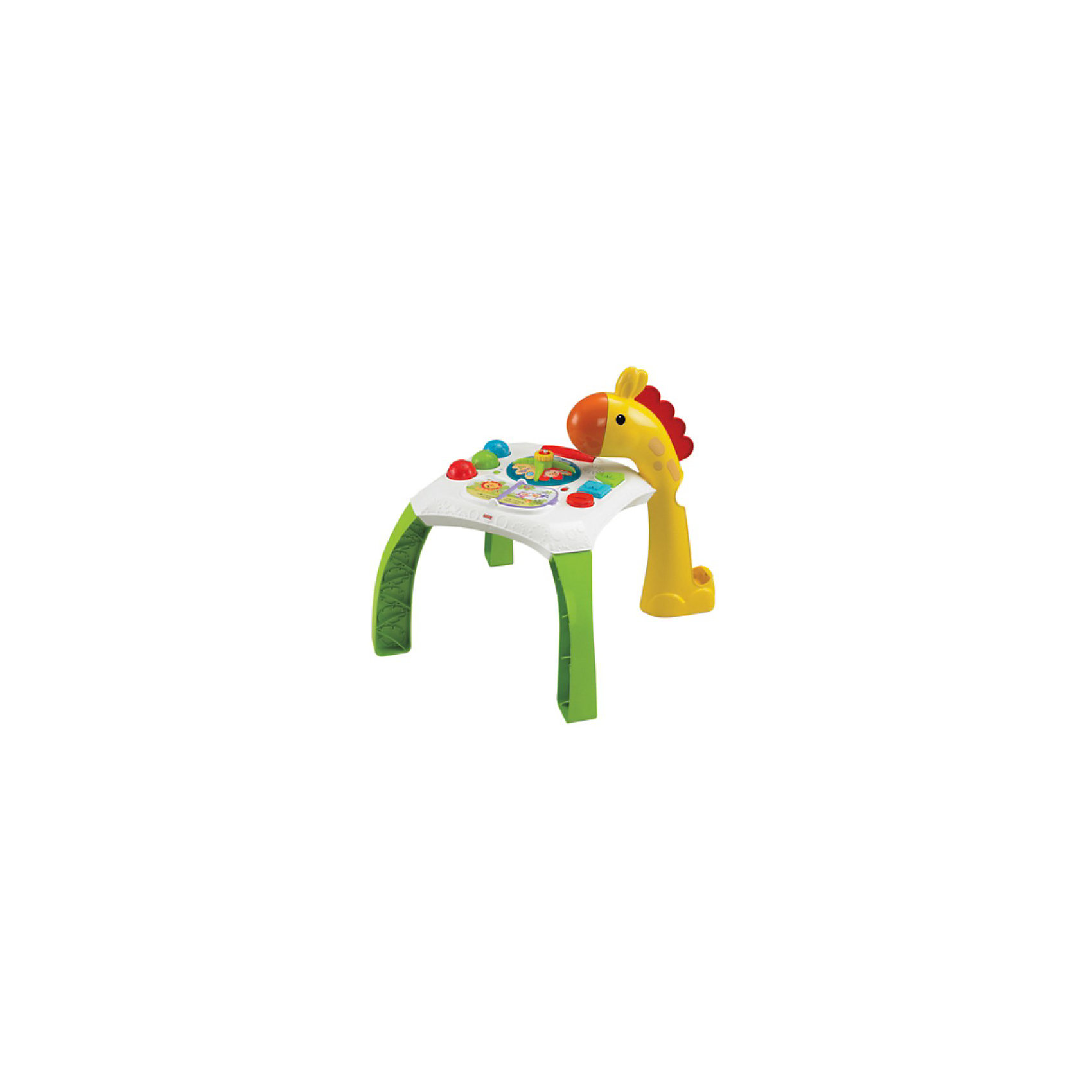 Обучающий столик Жираф, Fisher-PriceОбучающий столик Жираф, Fisher-Price - это красочная, многофункциональная игрушка, которая надолго увлечет Вашего малыша. Игрушку можно использовать как столик, за которым малыш играет сидя или стоя, или сняв столешницу, играть с ней отдельно. На игровой панели ребенок найдет множество занимательных деталей и игрушек: книжку с красочными картинками можно листать, нажимая на яркие разноцветные кнопки в виде геометрических фигур и вращая крутящийся волчок в центре стола малыш активирует веселые огоньки, звуки и музыку. <br><br>К столику крепится съемная фигурка забавного жирафа, с помощью которой можно поиграть в веселую игру: на спинке жирафа есть желобок, в который надо ловко бросать мячики (входят в комплект). Жираф также обладает световыми и звуковыми эффектами: издает звуки и мелодии и светится. Столик легко собирается и разбирается, ножки прочно крепятся к столешнице. Обучающий столик способствует развитию звукового и цветового восприятия, координации движений и мелкой моторики рук.<br><br>Дополнительная информация:<br><br>- Материал: пластик.<br>- Требуются батарейки: 3 х АА (не входят в комплект). <br>- Размер упаковки: 55,5 х 12,5 х 40,5 см.<br>- Вес: 2,56 кг. <br><br>Обучающий столик Жираф, Fisher-Price (Фишер-Прайс) можно купить в нашем интернет-магазине.<br><br>Ширина мм: 568<br>Глубина мм: 410<br>Высота мм: 137<br>Вес г: 2321<br>Возраст от месяцев: 6<br>Возраст до месяцев: 36<br>Пол: Унисекс<br>Возраст: Детский<br>SKU: 3784257