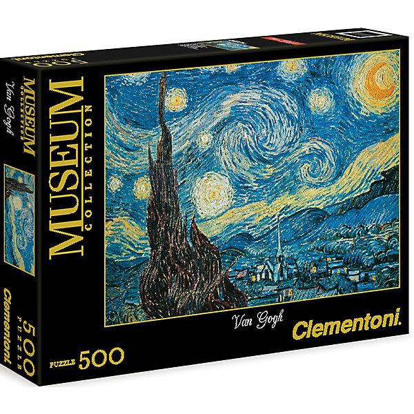Пазл Звездная ночь  500 деталей, ClementoniПазлы для детей постарше<br>Пазл Звездная ночь 500 деталей, Clementoni (Клементони) без сомнения, придется Вам по душе. Собрав этот пазл, включающий в себя 500 элементов, Вы получите изображение великолепной картины Ван Гога Звездная ночь. Готовое изображение наверняка понравится всем любителям изобразительного искусства.<br>Пазлы - прекрасное антистрессовое средство для взрослых и замечательная развивающая игра для детей. Сборка пазла развивает у ребенка мелкую моторику рук, тренирует наблюдательность, логическое мышление, знакомит с окружающим миром, с цветом и разнообразными формами, учит усидчивости и терпению, аккуратности и вниманию. Сборка пазла - прекрасное времяпрепровождение для всей семьи.<br><br>Дополнительная информация:<br><br>- Материал: картон<br>- Размер собранного пазла: 49х36 см.<br>- Размер коробки: 34,3х24,9х3,5 см.<br><br>Пазл Звездная ночь  500 деталей, Clementoni (Клементони) можно купить в нашем интернет-магазине.<br><br>Ширина мм: 344<br>Глубина мм: 46<br>Высота мм: 254<br>Вес г: 483<br>Возраст от месяцев: 120<br>Возраст до месяцев: 216<br>Пол: Унисекс<br>Возраст: Детский<br>Количество деталей: 500<br>SKU: 3784338