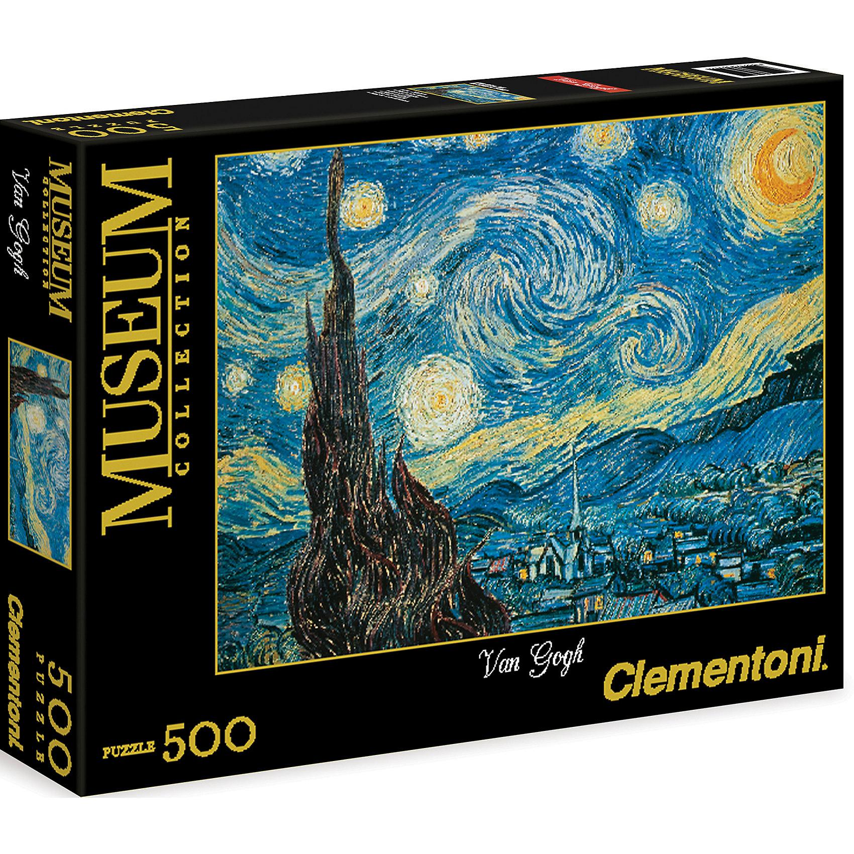 Пазл Звездная ночь  500 деталей, ClementoniКлассические пазлы<br>Пазл Звездная ночь 500 деталей, Clementoni (Клементони) без сомнения, придется Вам по душе. Собрав этот пазл, включающий в себя 500 элементов, Вы получите изображение великолепной картины Ван Гога Звездная ночь. Готовое изображение наверняка понравится всем любителям изобразительного искусства.<br>Пазлы - прекрасное антистрессовое средство для взрослых и замечательная развивающая игра для детей. Сборка пазла развивает у ребенка мелкую моторику рук, тренирует наблюдательность, логическое мышление, знакомит с окружающим миром, с цветом и разнообразными формами, учит усидчивости и терпению, аккуратности и вниманию. Сборка пазла - прекрасное времяпрепровождение для всей семьи.<br><br>Дополнительная информация:<br><br>- Материал: картон<br>- Размер собранного пазла: 49х36 см.<br>- Размер коробки: 34,3х24,9х3,5 см.<br><br>Пазл Звездная ночь  500 деталей, Clementoni (Клементони) можно купить в нашем интернет-магазине.<br><br>Ширина мм: 344<br>Глубина мм: 46<br>Высота мм: 254<br>Вес г: 483<br>Возраст от месяцев: 120<br>Возраст до месяцев: 216<br>Пол: Унисекс<br>Возраст: Детский<br>Количество деталей: 500<br>SKU: 3784338