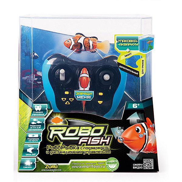 РобоРыбка  на дистанционном управлении, RoboFishРоборыбки<br>РобоРыбка (RoboFish) с инфракрасным пультом дистанционного управления позволит не только наблюдать за невероятно естесственными движениями рыбки, но управлять ею. <br>Робофиш светится, имитирует движения и повадки настоящей рыбки, как только попадает в воду.  <br>Рыбка имеет 2 режима управления с пульта: автоматический и ручной. В ручном режиме можно регулировать переключателем скорость (3 скорости) и джойстиком направление движения рыбки. <br>В автоматическом режиме можно выбрать 3 разных типа движения:<br>«БАССЕЙН» – РобоРыбка плавает по большому кругу – подходит для игры в бассейне, ванне; «АКВАРИУМ» - РобоРыбка плавает по маленькому кругу – походит для игры в аквариумах и других небольших емкостях с водой и «КОШКА» – РобоРыбка двигается, будто спасается от когтей кошки. <br><br>На пульте управления предусмотрено 3 канала, чтобы управлять 3-мя рыбками с  1-го пульта (в комплекте одна Роборыбка).<br>Также в комплекте имеется 2 съемных хвоста: для обычного и акробатического стиля плавания - с ним рыбка делает разворот на 360 градусов.<br>Упаковка представляет собой аквариум, который можно брать с собой и играть где угодно. РобоРыбка заряжается в течение 15 минут через специальное гнездо на пульте управления.<br><br>Дополнительная информация:<br><br>- В комплекте: роборыбка, пульт дистанционного управления, аквариум на 3 л<br>- Пульт управления работает от 3 батареек типа АА (не входят в комплект).<br>- Расстояние между пультом и рыбкой не должно превышать 5 метров.<br>- Размер упаковки: 21 х 12,3 х 23 см.<br>- Размер игрушки: 7,5 см.<br>- Материал: пластмасса, силикон, металл.<br>- Не требует специального ухода, но прослужит дольше, если после игры вынимать ее из воды.<br><br>РобоРыбку  на дистанционном управлении, RoboFish (Робофиш) можно купить в нашем магазине.<br><br>Ширина мм: 210<br>Глубина мм: 125<br>Высота мм: 250<br>Вес г: 440<br>Возраст от месяцев: 36<br>Возраст до месяцев: 144<br>Пол: Унисекс<b