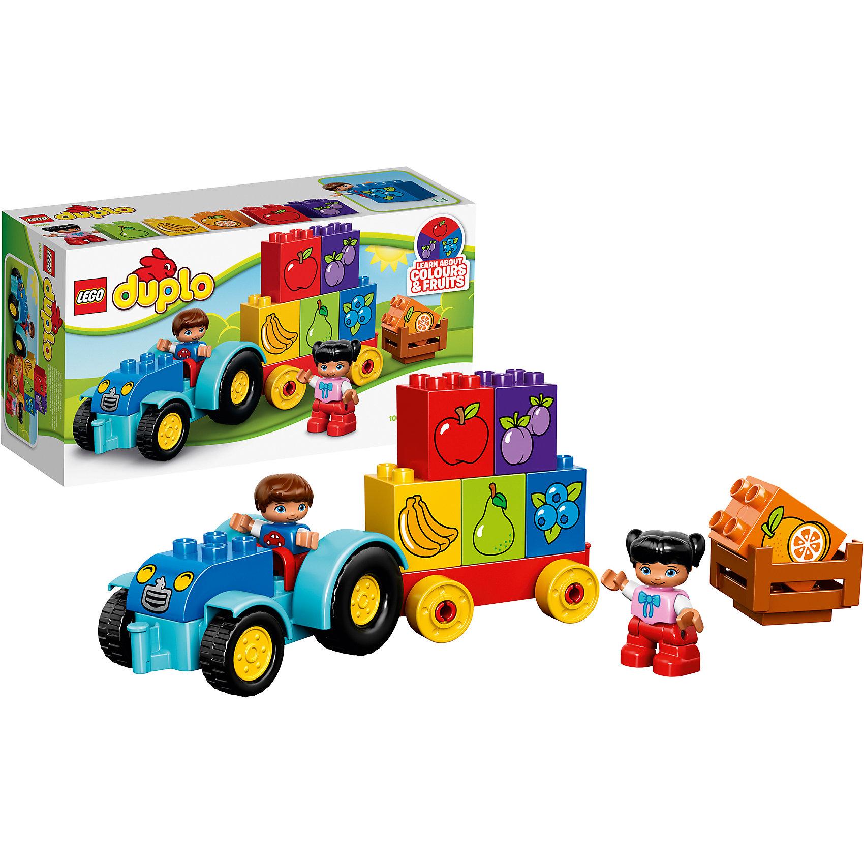 LEGO DUPLO 10615: Мой первый тракторПластмассовые конструкторы<br>Набор LEGO DUPLO (ЛЕГО Дупло) 10615: Мой первый трактор предназначен для самых маленьких. Все детали сделаны из безопасного стойкого к ударам пластика и имеют закругленную форму, которая подойдет для маленьких детских ручек. В наборе 6 кубиков с изображением ягод и фруктов, причем их цвет соответствует цветам плодов, что позволит ребенку в игровой форме выучить их названия. Став постарше, при помощи мини-фигурок – мальчика и девочки, – ребенок сможет самостоятельно разыгрывать сюжеты на тему сбора урожая, например, укладывание кубиков в кузов трактора.<br><br>Конструкторы LEGO DUPLO (ЛЕГО ДУПЛО), предназначенные для детей дошкольного возраста, сочетают игру и обучение, а также развивают мелкую моторику, пространственное мышление и творческие способности малышей и дошкольников. Кубики LEGO DUPLO (ЛЕГО ДУПЛО) в 8 раз больше, чем обычные кубики, что позволяет ребенку удобно их держать и быстро строить. Большое количество дополнительных элементов делает игровые сюжеты по-настоящему захватывающими и реалистичными. Все наборы ЛЕГО ДУПЛО соответствуют самым высоким европейским стандартам качества и абсолютно безопасны. <br><br>Дополнительная информация:<br>-Размер упаковки: 26,2х14,1х9,1 см<br>-Размеры трактора: 11 х 23 х 7 см<br>-Вес: 0,32 кг<br>-Деталей: 12 шт.<br>-Материал: пластик<br>-Весь набор упакован в фирменную картонную коробку ЛЕГО<br><br>LEGO DUPLO (ЛЕГО Дупло) 10615: Мой первый трактор можно купить в нашем магазине.<br><br>Ширина мм: 267<br>Глубина мм: 141<br>Высота мм: 97<br>Вес г: 314<br>Возраст от месяцев: 18<br>Возраст до месяцев: 60<br>Пол: Мужской<br>Возраст: Детский<br>SKU: 3786048