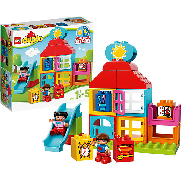 LEGO DUPLO 10616: Мой первый игровой домикПластмассовые конструкторы<br>Приучить ребенка к порядку и познакомить с устройством дома поможет игровой набор LEGO DUPLO (ЛЕГО Дупло) 10616: Мой первый игровой домик. Основой конструкции домика являются прямоугольные разноцветные блоки с открывающимися окошками. Чтобы определиться с назначением комнат (ванная, столовая, кухня, спальня), малыш должен воспользоваться кубиками с рисунками, обозначающими соответствующие помещения. В набор входят 4 таких кубика, а также элемент с изображением солнышка и месяца. Кроме того из деталей набора можно построить горку, которая станет любимым аттракционом для мальчика и девочки, поселившихся в этом кукольном домике.<br><br>Конструкторы LEGO DUPLO (ЛЕГО ДУПЛО), предназначенные для детей дошкольного возраста, сочетают игру и обучение, а также развивают мелкую моторику, пространственное мышление и творческие способности малышей и дошкольников. Кубики LEGO DUPLO (ЛЕГО ДУПЛО) в 8 раз больше, чем обычные кубики, что позволяет ребенку удобно их держать и быстро строить. Большое количество дополнительных элементов делает игровые сюжеты по-настоящему захватывающими и реалистичными. Все наборы ЛЕГО ДУПЛО соответствуют самым высоким европейским стандартам качества и абсолютно безопасны. <br><br>Дополнительная информация:<br>-Размер упаковки: 28,2x26,2x9,5 см<br>-Размеры игрового домика: 22 х 19 х 9 см<br>-Размеры горки: 9 х 4 х 13 см<br>-Вес: 0,60 кг<br>-Деталей: 25 шт.<br>-Материал: пластик<br>-Весь набор упакован в фирменную картонную коробку ЛЕГО<br><br>LEGO DUPLO (ЛЕГО Дупло) 10616: Мой первый игровой домик можно купить в нашем магазине.<br>Ширина мм: 284; Глубина мм: 259; Высота мм: 96; Вес г: 596; Возраст от месяцев: 18; Возраст до месяцев: 60; Пол: Унисекс; Возраст: Детский; SKU: 3786049;