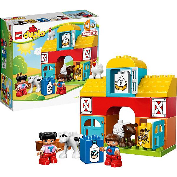 LEGO DUPLO 10617: Моя первая фермаПластмассовые конструкторы<br>Изучайте с малышом деревенских животных вместе с конструктором LEGO DUPLO (ЛЕГО Дупло) 10617: Моя первая ферма! При помощи 3 обучающих кубиков с яркими иллюстрациями ваш ребенок узнает о том, откуда в магазине берутся бутылки с молоком, куриные яйца и что можно сделать из овечьей шерсти. В собранном виде ферма представляет собой небольшой домик, в котором бок обок живут домашние животные: овечка, курочка и корова. На первом этаже устроены два хлева с открывающимися дверьми и кормушками. В них живут корова и овечка. На втором этаже устроен склад сена, а на чердаке – соломенный насест для курочки. Чтобы разнообразить игру, соедините с набором ЛЕГО Дупло 10615: Мой первый трактор.<br><br>Конструкторы LEGO DUPLO (ЛЕГО ДУПЛО), предназначенные для детей дошкольного возраста, сочетают игру и обучение, а также развивают мелкую моторику, пространственное мышление и творческие способности малышей и дошкольников. Кубики LEGO DUPLO (ЛЕГО ДУПЛО) в 8 раз больше, чем обычные кубики, что позволяет ребенку удобно их держать и быстро строить. Большое количество дополнительных элементов делает игровые сюжеты по-настоящему захватывающими и реалистичными. Все наборы ЛЕГО ДУПЛО соответствуют самым высоким европейским стандартам качества и абсолютно безопасны. <br><br>Дополнительная информация:<br>-Размер упаковки: 28,2х26,2х9,5 см<br>-Деталей: 26 шт., мини-фигурки (мальчик и девочка, овечка, курочка, корова)<br>-Размеры фермы: 18 х 19 х 9 см <br>-Вес: 0,744 кг<br>-Материал: пластик<br>-Весь набор упакован в фирменную картонную коробку ЛЕГО<br><br>LEGO DUPLO (ЛЕГО Дупло)  10617: Моя первая ферма можно купить в нашем магазине.<br><br>Ширина мм: 285<br>Глубина мм: 259<br>Высота мм: 101<br>Вес г: 662<br>Возраст от месяцев: 18<br>Возраст до месяцев: 60<br>Пол: Унисекс<br>Возраст: Детский<br>SKU: 3786050