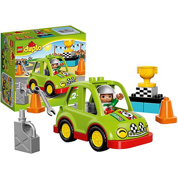 LEGO DUPLO 10589: Гоночный автомобильПластмассовые конструкторы<br>Маневренный автомобиль из набора LEGO DUPLO  (ЛЕГО ДУПЛО) 10589: Гоночный автомобиль станет отличным  подарком для всех начинающих любителей скорости и конструирования! Его корпус собирается из салатово-красных деталей. Кабина водителя позволяет вместить фигурку водителя и мотор. Проверьте исправность двигателя с помощью гаечного ключа, заправьте автомобиль с помощью канистры и садитесь за руль! В наборе есть элементы для проведения настоящих гонок: конусы, пьедестал почёта, финишный флаг и золотой кубок победителя.<br><br>Новинка 2015 года ЛЕГО ДУПЛО: Гоночный автомобиль разработана специально для маленьких поклонников ралли. Кубики LEGO DUPLO (ЛЕГО ДУПЛО) в 8 раз больше, чем обычные кубики, что позволяет детям раннего возраста удобно их держать и быстро строить. С помощью набора ребенок в форме захватывающей игры познакомится с основами конструирования, а также разовьет мелкую моторику, пространственное мышление и творческие способности. Большое количество дополнительных элементов делает игровые сюжеты по-настоящему захватывающими и реалистичными. Все наборы ЛЕГО ДУПЛО соответствуют самым высоким европейским стандартам качества и абсолютно безопасны. <br> <br> Дополнительная информация:<br>-Состав: 1 мини-фигурка водителя, 13 деталей<br>-Размер автомобиля в собранном виде составляет 9х14х7 см<br>-Размер пьедестала: 5 х 6 х 3 см<br>-Размеры в упаковке: 20,5х19,1х9,2 см<br>-Вес: 0,29 кг<br>-Материал: пластик<br><br><br>LEGO DUPLO (ЛЕГО ДУПЛО)  10589: Гоночный автомобиль можно купить в нашем магазине.<br><br>Ширина мм: 209<br>Глубина мм: 192<br>Высота мм: 93<br>Вес г: 306<br>Возраст от месяцев: 24<br>Возраст до месяцев: 60<br>Пол: Мужской<br>Возраст: Детский<br>SKU: 3786053