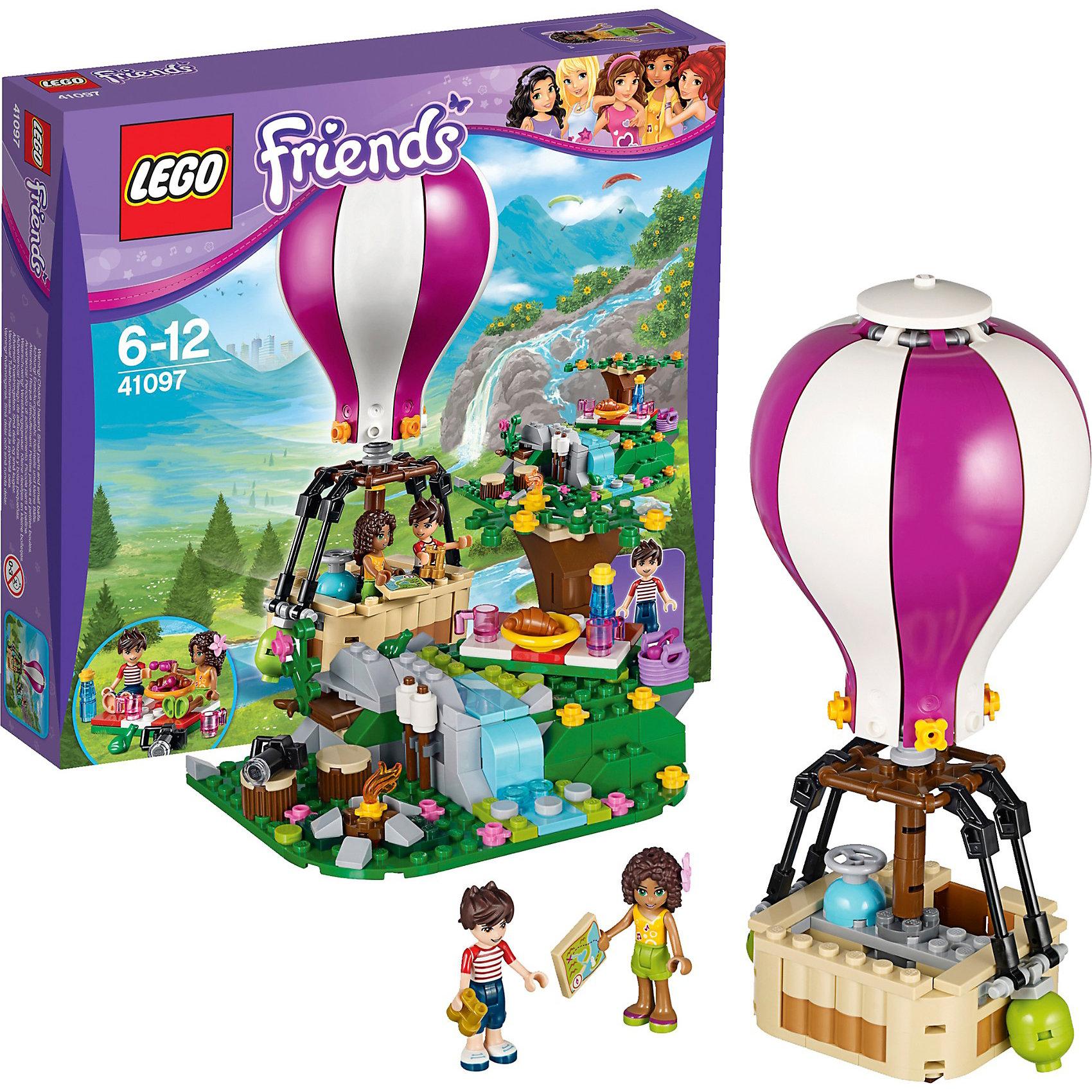 LEGO Friends 41097: Воздушный шарВ наборе LEGO Friends (ЛЕГО Подружки) 41097: Воздушный шар вы найдете фигурки Андреа и Ноа, а также множество игровых элементов (заколка-цветок, карта местности, фотоаппарат, бинокль, скатерть, кружки, бутылка, тарелка, круассан, корзина с фруктами, костёр, балласт, баллон с газом, цветы и лягушка). Чтобы весело и насыщенно провести выходные, девочки решили устроить пикник. Они расчистили площадку для костра и расстелили скатерть рядом с деревом. Пообедав припасами из корзинки, они решают подняться в небо на воздушном шаре. В основании купола установлена пропановая горелка для нагревания воздуха, а на вершине – специальный открывающийся клапан, который помогает охладить воздух внутри шара и снизить высоту полёта. При желании набор Воздушный шар можно объединить с набором ЛЕГО Подружки 41094: Маяк. <br><br>Конструирование – это полезное и увлекательное занятие, которое развивает моторику, речь и фантазию. Уникальная серия Lego Friends (Подружки) – это коллекция тематических наборов о крепкой дружбе 5 девочек. Каждый набор Лего серии Подружки – это сюжеты, близкие и понятные девчонкам: новые платья, интерьер дома, питомцы, прогулки на автомобиле и многое другое. При желании игру можно разнообразить героями и аксессуарами  из разных конструкторов коллекции Лего Подружки. Все наборы ЛЕГО Подружки соответствуют самым высоким европейским стандартам качества и абсолютно безопасны. <br><br>Дополнительная информация:<br>-Размер упаковки: 28,2x26,2x5,9 см<br>-Размеры воздушного шара в собранном виде: 19 х 6 х 6 см<br>-Размер места для пикника: 6 х 12 х 9 см<br>-Вес: 0,4 кг <br>-Состав: 254 детали, 2 мини-фигурки, инструкция<br>-Материал: пластик<br>-Весь набор упакован в фирменную картонную коробку ЛЕГО<br><br>LEGO Friends (ЛЕГО Подружки) 41097: Воздушный шар можно купить в нашем магазине.<br><br>Ширина мм: 276<br>Глубина мм: 261<br>Высота мм: 63<br>Вес г: 416<br>Возраст от месяцев: 72<br>Возраст до месяцев: 156<br>Пол: Женский<br>Возраст: Дет