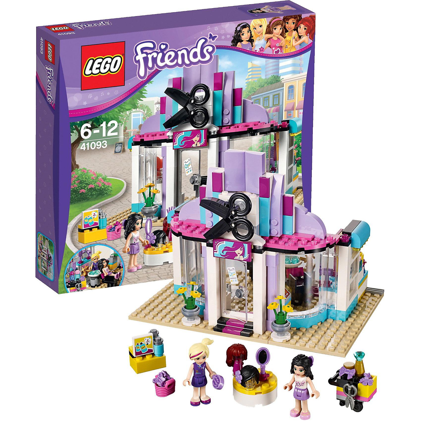 LEGO Friends 41093: ПарикмахерскаяНовая игрушка LEGO Friends (ЛЕГО Подружки) 41093: Парикмахерская откроет удивительный мир моды и стиля. Парикмахерская Хартлейк Сити представляет собой одноэтажное здание с большими прозрачными окнами. На крыше установлена яркая вывеска, а перед фасадом поставлены две вазы с цветами и стенд с рекламой. Фасад заведения можно украсить красочной вывеской и клумбами с садовыми цветами. Внутри парикмахерской есть все необходимое для чудесного преображения – стойка со средствами ухода и инструментами, удобное кресло, парики, расчески, раковина с водой, полки с шампунями и др. Профессиональный стилист Наташа готова предложить моднице Эмме оригинальные прически и даже изменить цвет волос. Какую прическу она хочет сегодня? Пока создается новый образ, Эмма может выпить кофе и почитать журнал. Наташа добавляет к прическе модный аксессуар, который подчеркнет оригинальность прически. В завершении поверни Эмму к зеркалу и покажи ей новый образ. Она довольна!<br><br>Конструирование – это полезное и увлекательное занятие, которое развивает моторику, речь и фантазию. Уникальная серия Lego Friends (Подружки) – это коллекция тематических наборов о крепкой дружбе 5 девочек. Каждый набор Лего серии Подружки – это сюжеты, близкие и понятные девчонкам: новые платья, интерьер дома, питомцы, прогулки на автомобиле и многое другое. При желании игру можно разнообразить героями и аксессуарами  из разных конструкторов коллекции Лего Подружки. Все наборы ЛЕГО Подружки соответствуют самым высоким европейским стандартам качества и абсолютно безопасны.<br><br>Дополнительная информация:<br>-Размеры упаковки: 28х26х6 см<br>-Вес: 0,52 кг<br>-Состав: 318 деталей, 2 мини-фигурки (стилист Наташа и посетительница Эмма), аксессуары, инструкция<br>-Размер парикмахерской: 14 х 18 х 13 см<br>-Материал: пластик<br>-Весь набор упакован в фирменную картонную коробку ЛЕГО<br><br>LEGO Friends (ЛЕГО Подружки) 41093: Парикмахерская можно купить в нашем магазине.<br><br>Ширина мм: 27