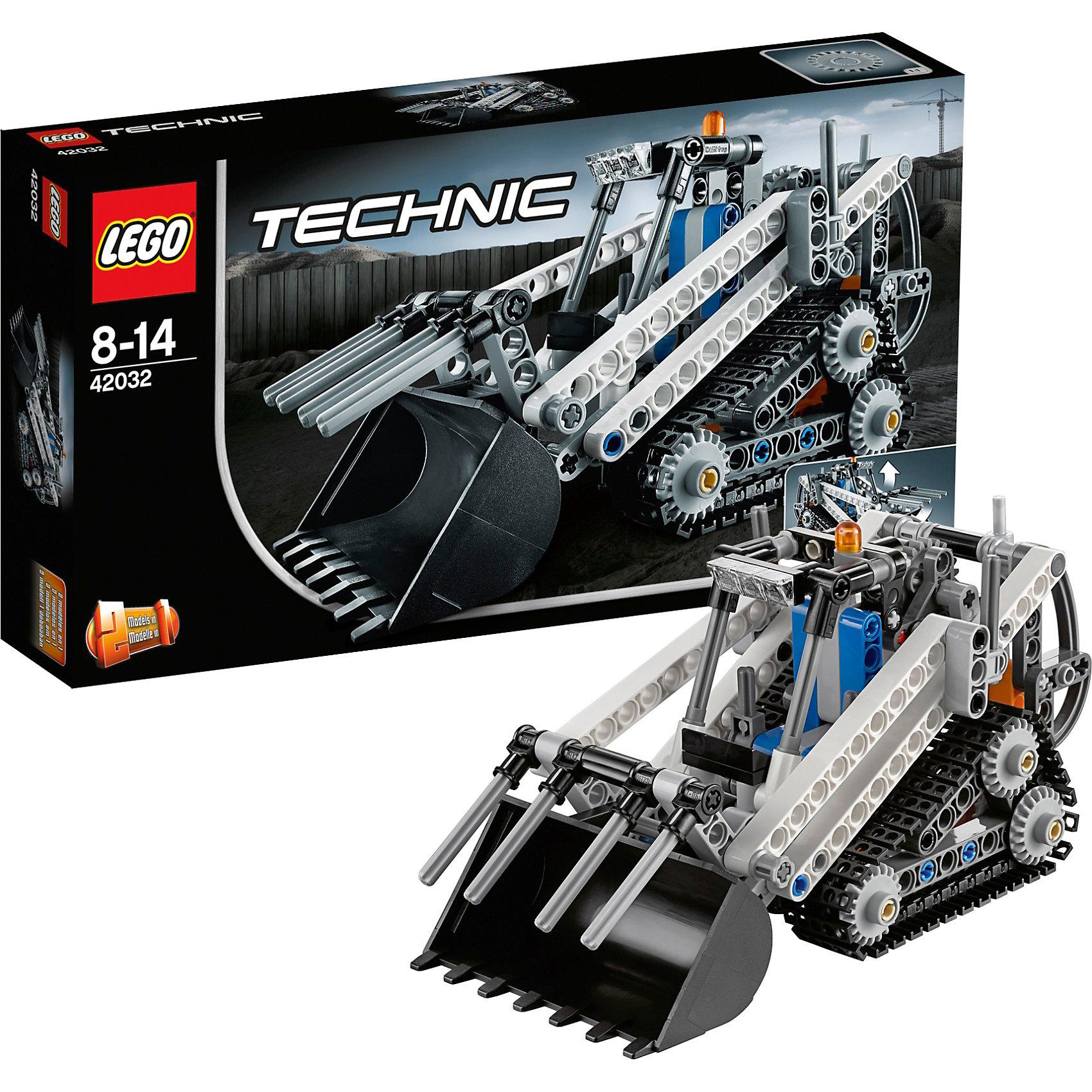 LEGO Technic 42032: Гусеничный погрузчикLEGO Technic (ЛЕГО Техник) 42032: Гусеничный погрузчик представляет собой небольшую многофункциональную машину, обладающую всеми функциональными возможностями своего прототипа, включая подвешенный сзади сложный механизм стрелы, с помощью которого можно управлять ковшом и навесными вилами, дополнительные фары на крыше, предупредительный маячок, рычаг переключения передач и большие треугольные гусениц для повышения сцепления и маневренности. При желании погрузчик можно трансформировать в мощный снегоуборщик на гусеничном ходу. У снегоуборщика поднимается и опускается нож, если покрутить ручку сзади кабины. <br><br>Все наборы серии ЛЕГО Техник позволяют собрать довольно подробные модели транспортных средств, которые помогают ребенку составить представление о том, как устроены и работают автомобили. Построение моделей техник способствует развитию мелкой моторики, логики, пространственного воображения. В серии Лего Техник найдутся транспортные средства на любой вкус: тракторы и экскаваторы, внедорожники и квадроциклы, самосвалы и гоночные автомобили. Некоторые машины можно моторизировать с помощью Power Function (продается отдельно). Модели ЛЕГО Техник высокодетализированы и имеют множество подвижных узлов и действующих механизмов.<br><br>Дополнительная информация:<br>-Размер упаковки: 26,2х14,1х4,8 см<br>-Размер в форме погрузчика: 9 х 17 х 8 см<br>-Размер в форме снегоуборщика: 8 х 13 х 11 см<br>-Вес: 0,24 кг<br>-Состав: 252 детали, инструкция<br>-Материал: пластик<br>-Весь набор упакован в фирменную картонную коробку ЛЕГО<br><br>LEGO Technic (ЛЕГО Техник) 42032: Гусеничный погрузчик можно купить в нашем магазине.<br><br>Ширина мм: 264<br>Глубина мм: 142<br>Высота мм: 53<br>Вес г: 287<br>Возраст от месяцев: 96<br>Возраст до месяцев: 168<br>Пол: Мужской<br>Возраст: Детский<br>SKU: 3786093