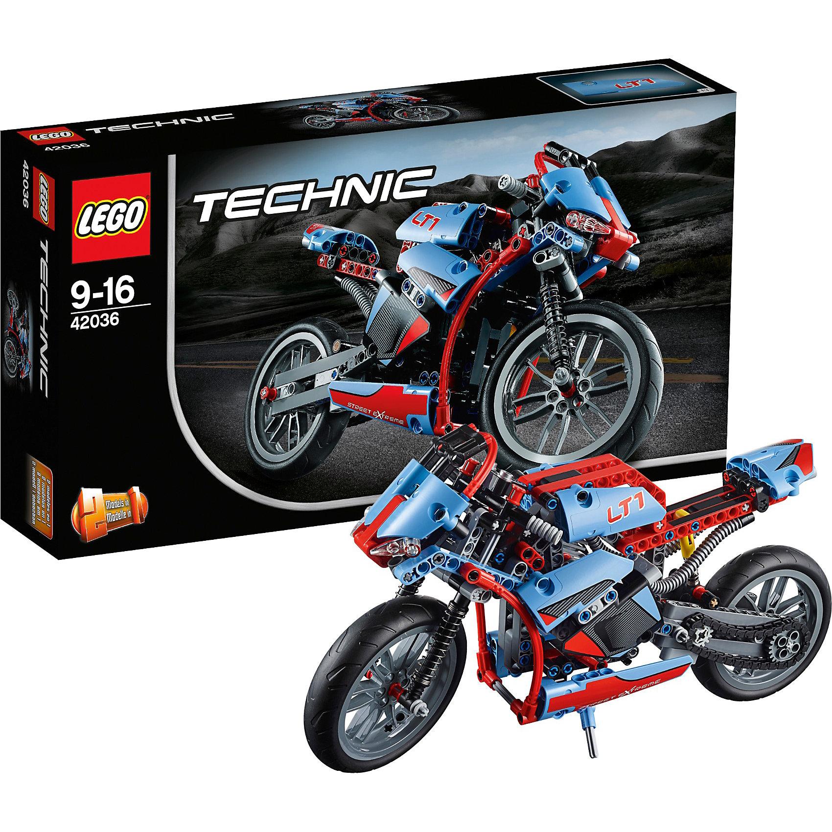 LEGO Technic 42036: СпортбайкLEGO Technic (ЛЕГО Техник) 42036: Спортбайк представляет собой детализированную модель мотоцикла с множеством активных функций. Легкая, маневренная и одновременно мощная машина способна быстро ускоряться. Под сидением гонщика располагается мощный мотор. Во время движения его поршни могут подниматься и опускаться, приводя в движение колеса. Переднее колесо имеет реалистичное рулевое управление, позволяющее маневрировать на трассе и плавно входить в повороты. Кроме того спортбайк оснащён откидной подножкой, позволяющей надёжно зафиксировать модель в вертикальном положении. Сборка Спортбайка поможет начинающим механикам разобраться в системе рулевого управления, амортизаторов, схеме подвески и передачи крутящего момента. Игрушка станет интересна детям, уже познакомившимся с конструкторами серии ЛЕГО Техник, т.к. набор отличается повышенной сложностью.<br>Модель 2-в-1: из деталей набора можно собрать ретро-байк.<br><br>Все наборы серии ЛЕГО Техник позволяют собрать довольно подробные модели транспортных средств, которые помогают ребенку составить представление о том, как устроены и работают автомобили. Построение моделей техник способствует развитию мелкой моторики, логики, пространственного воображения. В серии Лего Техник найдутся транспортные средства на любой вкус: тракторы и экскаваторы, внедорожники и квадроциклы, самосвалы и гоночные автомобили. Некоторые машины можно моторизировать с помощью Power Function (продается отдельно). Модели ЛЕГО Техник высокодетализированы и имеют множество подвижных узлов и действующих механизмов.<br><br>Дополнительная информация:<br>-Размеры упаковки: 35,4х19,1х7 см<br>-Размер спортбайка в собранном виде: 17х32х8 см<br>-Размер в виде ретро-байка: 13 х 33 х 10 см<br>-Вес: 0,55 кг<br>-Состав: 375 деталей, инструкция<br>-Материал: пластик<br>-Весь набор упакован в фирменную картонную коробку ЛЕГО<br><br>LEGO Technic (ЛЕГО Техник) 42036: Спортбайк можно купить в нашем магазине.<br><br>Ширина мм: 357<br>Глуби