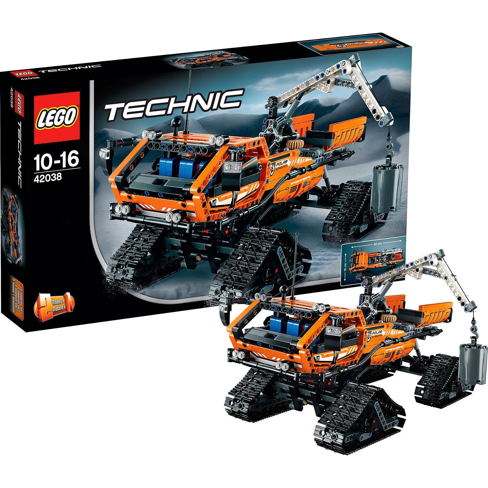 LEGO Technic 42038: Арктический вездеходНовинка LEGO Technic (ЛЕГО Техник) 42038: Арктический вездеход – это один из самых объемных конструкторов в линейке 2015 года, отличающийся детализацией, продуманным дизайном и обилием подвижных деталей. Его корпус выполнен из контрастных оранжево-чёрных деталей, хорошо заметных издалека. Уровень сложности оценивается по высшей шкале, поэтому сборка игрушки потребует участия взрослых членов семьи. Обучающие занятия с этим конструктором познакомят подростка со строением сложных механизмов. Этот громадный гусеничный вездеход для езды по снегу предназначен для преодоления гигантских сугробов и езды по арктической местности. В собранном виде вездеход оснащен 4 опорами и широкими гусеничными лентами (которые могут плавно поворачивать), мощным краном с лебедкой и крюком, кабиной с открывающимися дверцами, опрокидывающейся грузовой платформой. Эту модель также можно трансформировать в гусеничный грузовик-пикап или усовершенствовать при помощи мотора 8293 LEGO Power Functions (продается отдельно) – и у тебя будут яркие светодиодные фары плюс моторизированная лебедка и платформа! <br><br>В серии Лего Техник найдутся транспортные средства на любой вкус: тракторы и экскаваторы, внедорожники и квадроциклы, самосвалы и гоночные автомобили. Некоторые машины можно моторизировать с помощью Power Function (продается отдельно). Все модели ЛЕГО Техник высокодетализированы и имеют множество подвижных узлов и действующих механизмов. Модели из серии конструкторов LEGO Technic будут интересны не только детям от 8 лет, но и взрослым. Почувствуйте себя в роли механика или инженера-инструктора!<br><br>Дополнительная информация:<br><br>-Состав: 913 деталей, инструкция<br>-Размер упаковки: 11х3х9 см<br>-Размер вездехода: 16 х 40 х 18 см<br>-Вылет стрелы крана: 26 см<br>-Вес: 1,38 кг<br>-Материал: пластик<br>-Весь набор упакован в фирменную картонную коробку ЛЕГО<br><br>LEGO Technic (ЛЕГО Техник) 42038: Арктический вездеход можно купить в нашем магазине.<