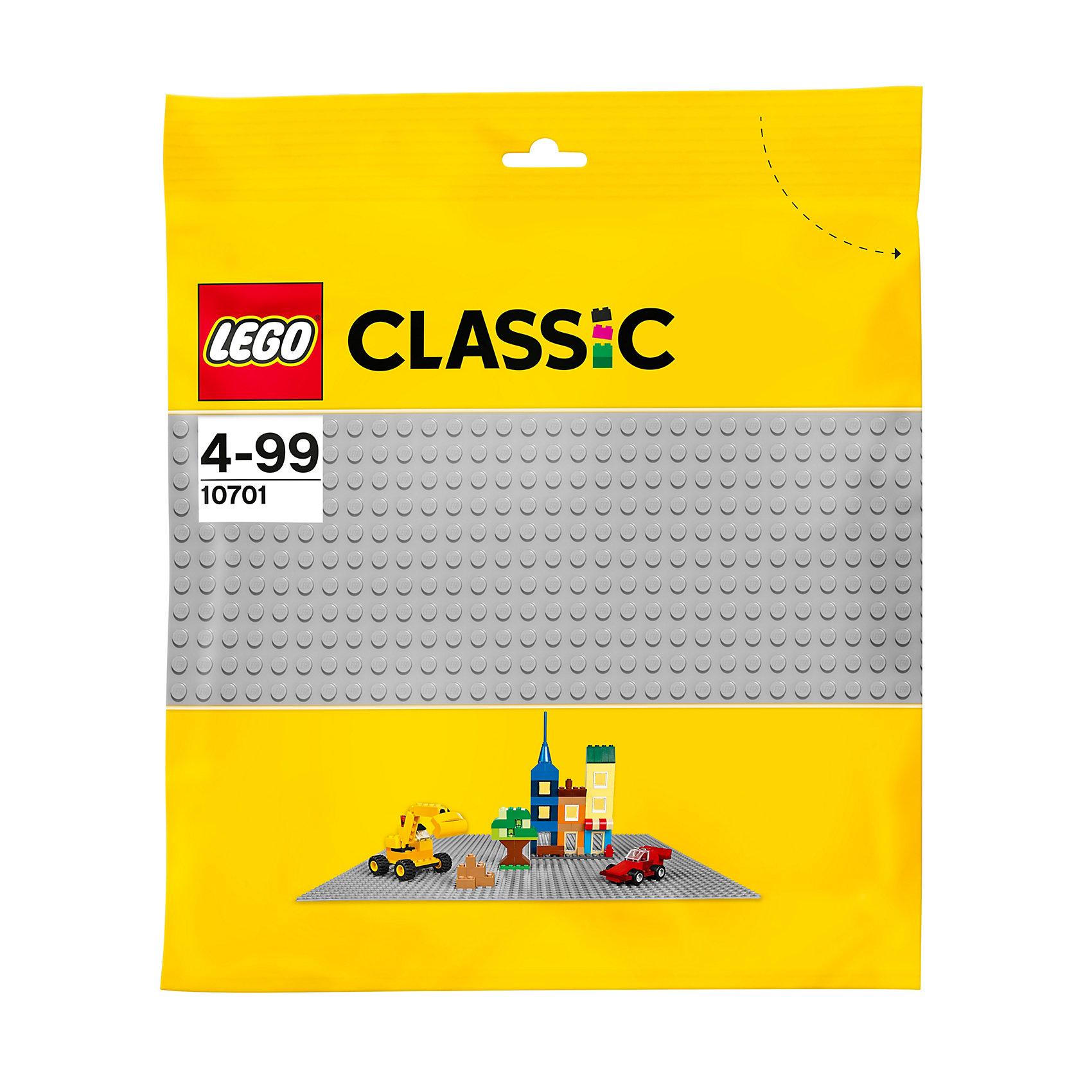 LEGO Classic 10701: Строительная пластина серого цветаПластмассовые конструкторы<br>Создаете ли Вы тротуар, дорогу или целый город с магазинами и кафе,  эта базовая пластина серого цвета — идеальная отправная точка для сборки, демонстрации ваших творений из LEGO (ЛЕГО) и игры с ними. Расширьте возможности Вашего конструктора, закрепив детали на строительной пластине. Серая строительная пластина отлично сочетается с пластинами других цветов, на ней интересно расставлять цветные акценты. Создавайте гоночные трассы, городские улицы, средневековые замки или все, что подскажет Ваша фантазия!<br><br>Дополнительная информация:<br><br>- Отличная основа для строительства городов;<br>- Подходит для всех стандартных наборов LEGO (ЛЕГО);<br>- Материал: пластик;<br>- Цвет: серый;<br>- Размер пластины: 38 х 38 см;<br>- Размер упаковки: 38 х 43 см;<br>- Вес: 100 г<br><br>LEGO Classics (ЛЕГО Классика) 10701: Строительную пластину серого цвета можно купить в нашем магазине.<br><br>Ширина мм: 393<br>Глубина мм: 382<br>Высота мм: 11<br>Вес г: 234<br>Возраст от месяцев: 48<br>Возраст до месяцев: 144<br>Пол: Унисекс<br>Возраст: Детский<br>SKU: 3786102