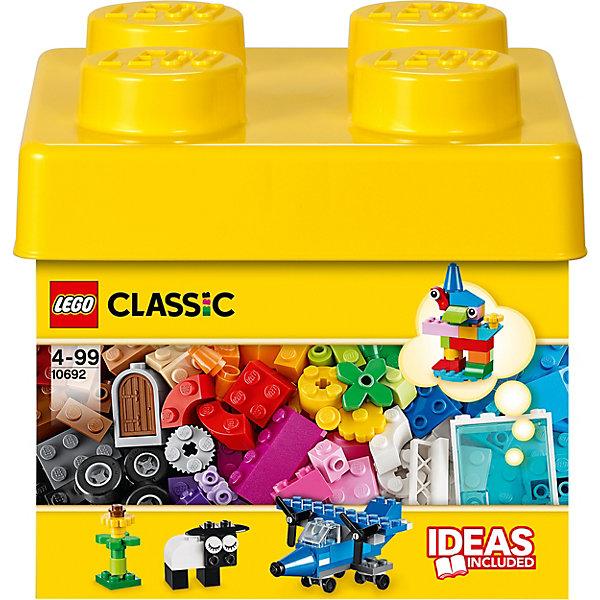 LEGO  10692: Набор для творчестваПластмассовые конструкторы<br>Карандаш, овечка, дельтаплан! Окунитесь с головой в этот набор кубиков LEGO и дайте волю своему воображению. Бесконечные возможности для сборки из классических кубиков 29 разных цветов и специальных деталей, включая двери, окна, колеса, глаза, пропеллеры и отделитель кубиков. Если вы не знаете, с чего начать, вам помогут инструкции с идеями дизайнеров, от которых можно оттолкнуться. <br><br>Наборы для творчества LEGO (ЛЕГО)  идеальны для начинающих строителей всех возрастов. Они также дополнят любую имеющуюся коллекцию LEGO. Набор упакован в удобную пластиковую коробку. <br><br>Дополнительная информация:<br><br>- Конструкторы ЛЕГО развивают усидчивость, внимание, фантазию и мелкую моторику. <br>- Комплектация: колеса, пропеллеры, стандартные кубики, кубики с рисунками, двери окна.<br>- Количество деталей: 221 шт.<br>- Серия ЛЕГО (LEGO) Наборы для творчества.<br>- Материал: пластик.<br>- Размер упаковки: 18х16,5х18 см.<br>- Вес: 0,55 кг<br><br>LEGO  10692: Набор для творчества можно купить в нашем магазине.<br><br>Ширина мм: 180<br>Глубина мм: 180<br>Высота мм: 167<br>Вес г: 423<br>Возраст от месяцев: 48<br>Возраст до месяцев: 144<br>Пол: Унисекс<br>Возраст: Детский<br>SKU: 3786103