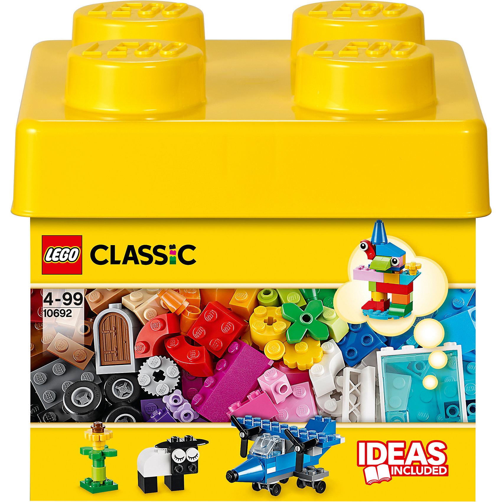 LEGO  10692: Набор для творчестваПластмассовые конструкторы<br>Карандаш, овечка, дельтаплан! Окунитесь с головой в этот набор кубиков LEGO и дайте волю своему воображению. Бесконечные возможности для сборки из классических кубиков 29 разных цветов и специальных деталей, включая двери, окна, колеса, глаза, пропеллеры и отделитель кубиков. Если вы не знаете, с чего начать, вам помогут инструкции с идеями дизайнеров, от которых можно оттолкнуться. <br><br>Наборы для творчества LEGO (ЛЕГО)  идеальны для начинающих строителей всех возрастов. Они также дополнят любую имеющуюся коллекцию LEGO. Набор упакован в удобную пластиковую коробку. <br><br>Дополнительная информация:<br><br>- Конструкторы ЛЕГО развивают усидчивость, внимание, фантазию и мелкую моторику. <br>- Комплектация: колеса, пропеллеры, стандартные кубики, кубики с рисунками, двери окна.<br>- Количество деталей: 221 шт.<br>- Серия ЛЕГО (LEGO) Наборы для творчества.<br>- Материал: пластик.<br>- Размер упаковки: 18х16,5х18 см.<br>- Вес: 0,55 кг<br><br>LEGO  10692: Набор для творчества можно купить в нашем магазине.<br><br>Ширина мм: 184<br>Глубина мм: 177<br>Высота мм: 162<br>Вес г: 420<br>Возраст от месяцев: 48<br>Возраст до месяцев: 144<br>Пол: Унисекс<br>Возраст: Детский<br>SKU: 3786103