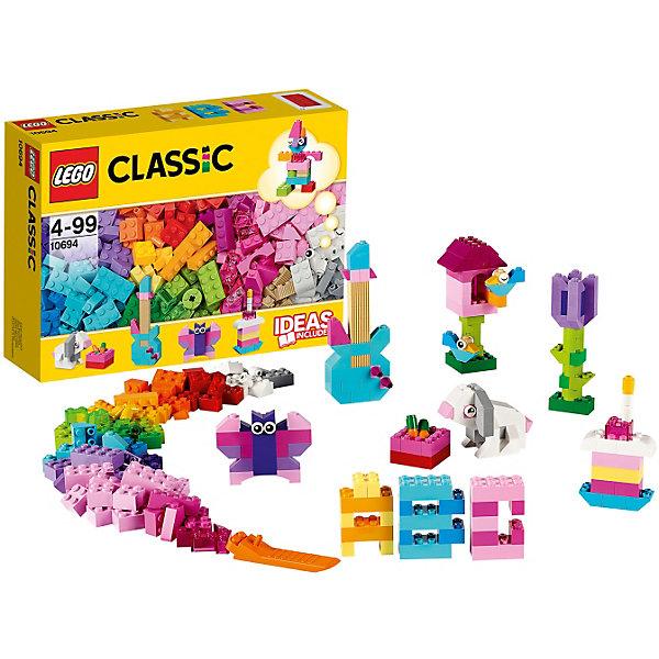 LEGO Classic 10694: Дополнение к набору для творчества – пастельные цветаПластмассовые конструкторы<br>Набор LEGO Classics (ЛЕГО Классика) 10694: Дополнение к набору для творчества – пастельные цвета особенно понравится девчонкам. Более трехсот ярких кубиков разделены на 20 цветов ярких оттенков. Розовые, фиолетовые, голубые кубики помогут ребенку проявить фантазию. В наборе с деталями конструктора ребенок найдет дизайнерскую инструкцию, в которой можно познакомиться с основами конструирования. Малыш увидит, как из простых кубиков собрать буквы алфавита, музыкальные инструменты и конечно животных. В процессе игры с конструктором ребенок научится воспринимать объекты не только как единое целое, но и видеть составляющие конструкции. Конструкторы LEGO Classics (ЛЕГО Классика) - яркие, прочные, помогают создавать множество различных сюжетов и идеально подходят для реалистичных и познавательных игр.<br><br>Дополнительная информация:<br><br>- Количество деталей: 303 шт;<br>- В наборе инструкция, обучающая конструированию;<br>- Материал: пластик;<br>- Размер упаковки: 26 х 19 х 7 см;<br>- Вес: 500 г<br><br>LEGO Classics (ЛЕГО Классика) 10694: Дополнение к набору для творчества – пастельные цвета можно купить в нашем магазине.<br>Ширина мм: 192; Глубина мм: 258; Высота мм: 74; Вес г: 459; Возраст от месяцев: 48; Возраст до месяцев: 144; Пол: Унисекс; Возраст: Детский; SKU: 3786105;