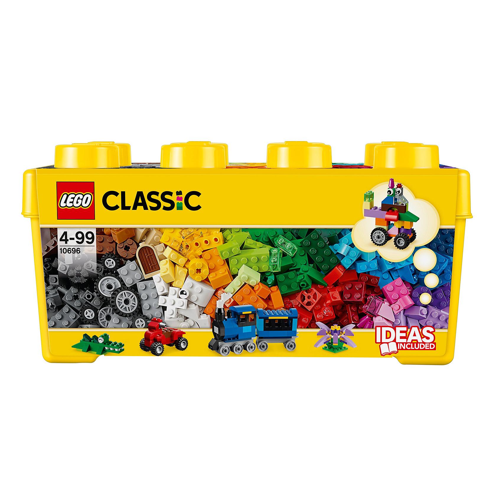 LEGO  10696: Набор для творчества среднего размераПластмассовые конструкторы<br>Тостер, поезд, привидение... Окунитесь с головой в этот набор кубиков LEGO и дайте волю своему воображению! Бесконечные возможности для сборки из классических кубиков 35 разных цветов и специальных деталей, включая двери, окна, колеса, глаза, пропеллеры и отделитель кубиков. Если вы не знаете, с чего начать, вам помогут инструкции с идеями дизайнеров, от которых можно оттолкнуться. <br><br>Наборы для творчества LEGO (ЛЕГО)  идеальны для начинающих строителей всех возрастов. Они также дополнят любую имеющуюся коллекцию LEGO. Набор упакован в удобную пластиковую коробку. <br><br>Дополнительная информация:<br><br>- Конструкторы ЛЕГО развивают усидчивость, внимание, фантазию и мелкую моторику. <br>- Комплектация: кубики, двери, окна, колеса, глаза, пропеллеры, отделитель кубиков.<br>- Количество деталей: 484 шт.<br>- Серия ЛЕГО (LEGO) Наборы для творчества.<br>- Материал: пластик.<br>- Размер упаковки: 37х18х18 см.<br>- Вес: 1,239 кг<br><br>LEGO  10696: Набор для творчества среднего размера можно купить в нашем магазине.<br><br>Ширина мм: 365<br>Глубина мм: 185<br>Высота мм: 177<br>Вес г: 1025<br>Возраст от месяцев: 48<br>Возраст до месяцев: 144<br>Пол: Унисекс<br>Возраст: Детский<br>SKU: 3786106